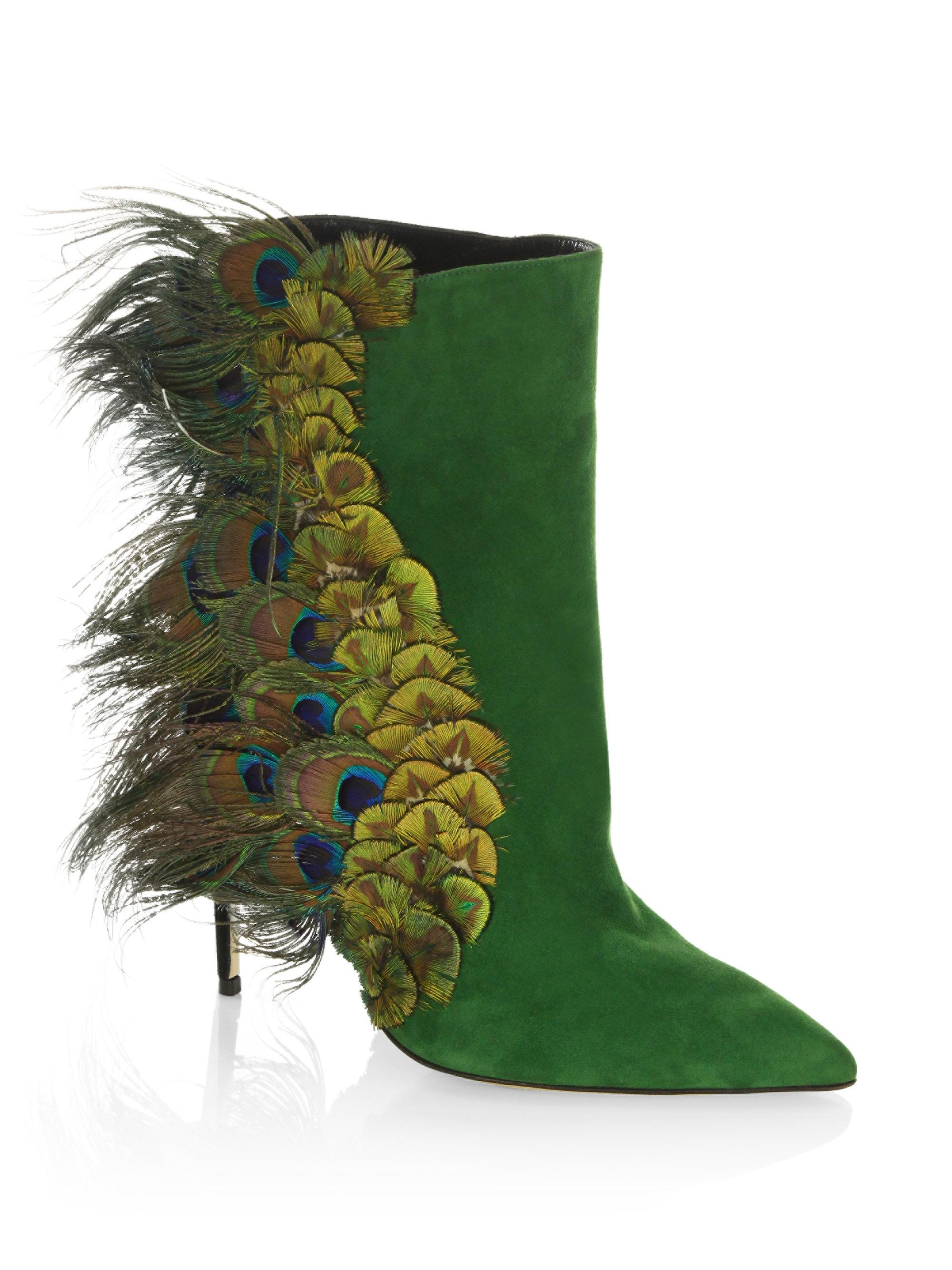 PAUL ANDREWLimited-Edition Pana Peacock Feather & Suede Booties 3UdrFy9rP
