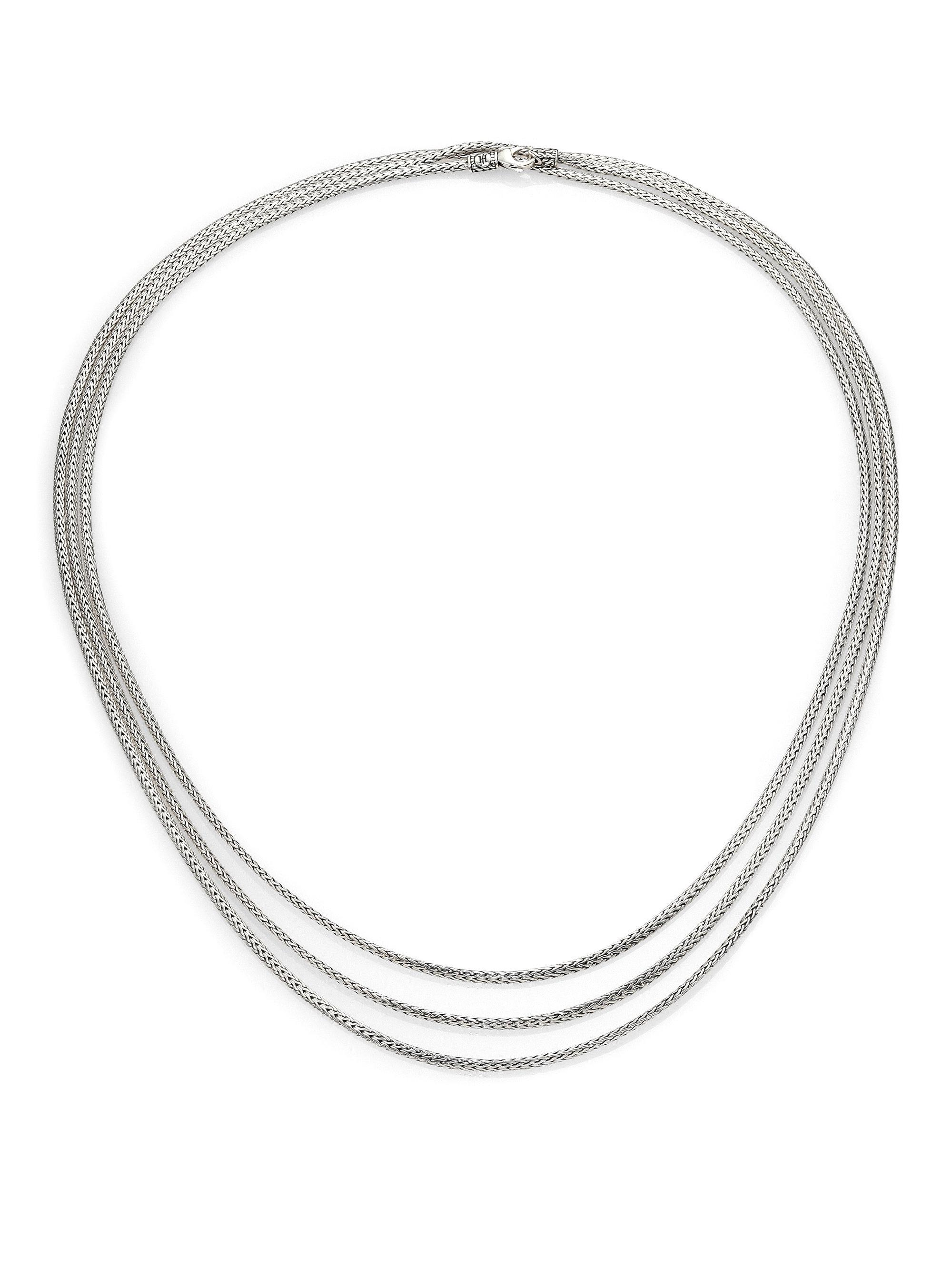 John Hardy Classic Chain Silver Graduated Necklace