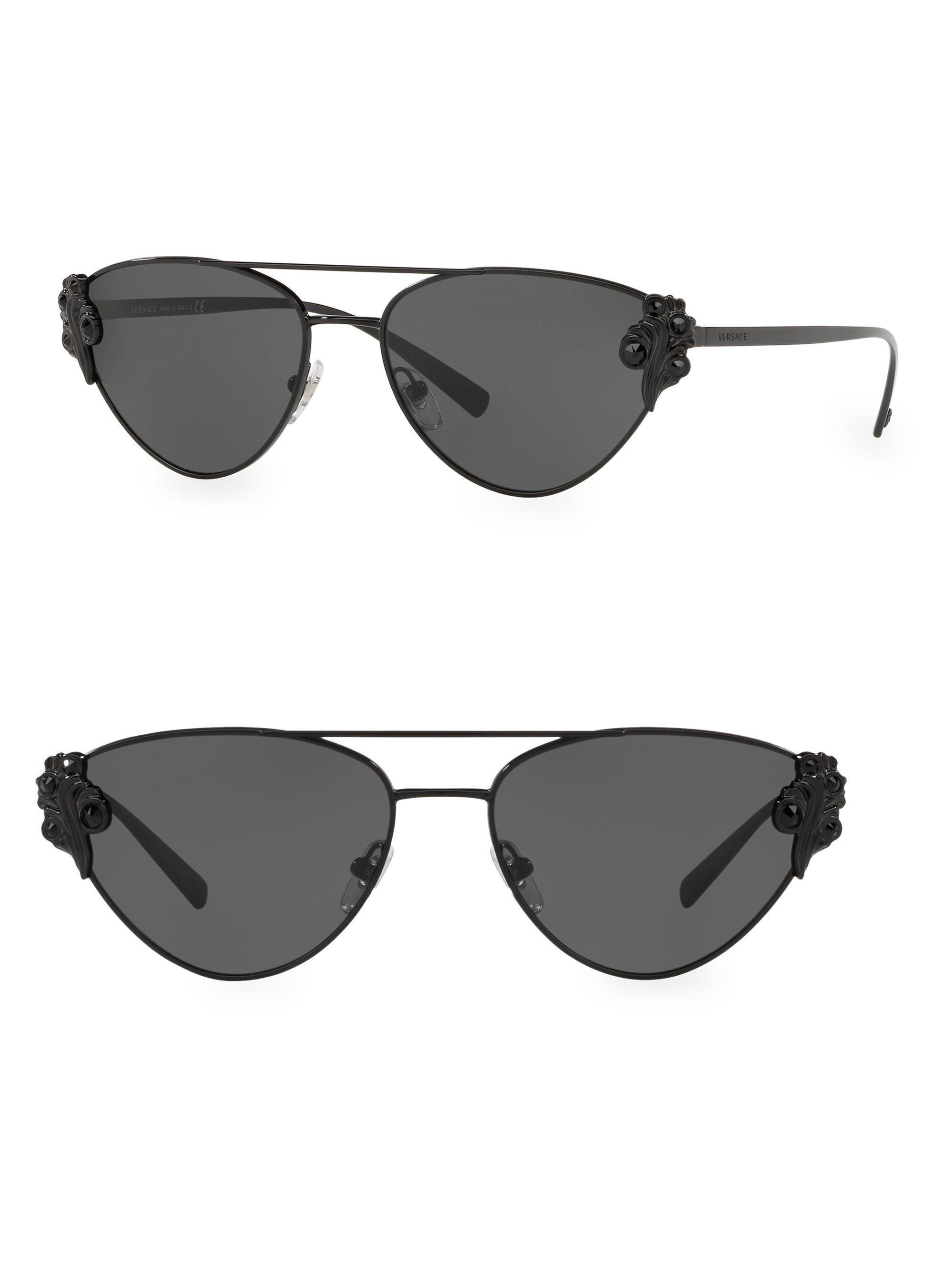 05a3508fafc1 Versace - Black 56mm Crystal Cat Eye Sunglasses - Lyst. View fullscreen