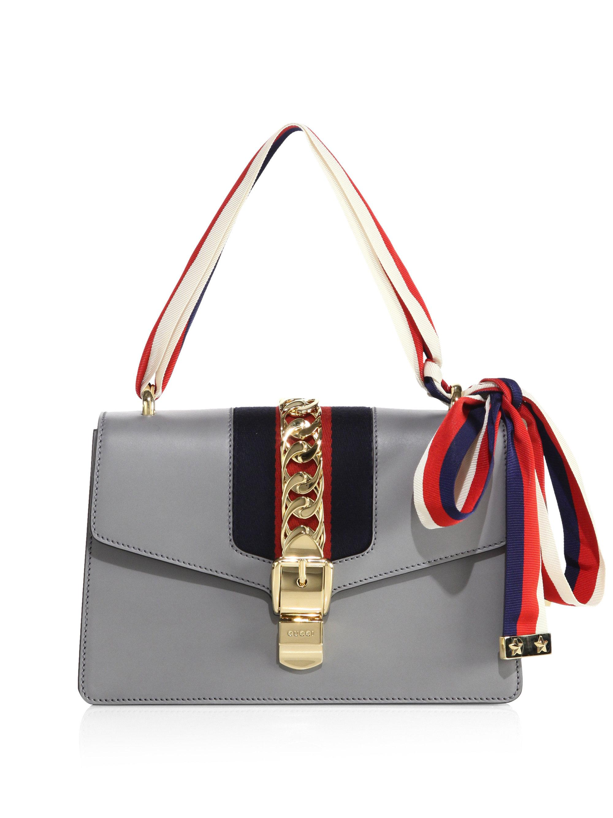 b9ab409ae95d ... Saks Fifth Avenue Lyst Gucci Sylvie Leather Shoulder Bag In Gray