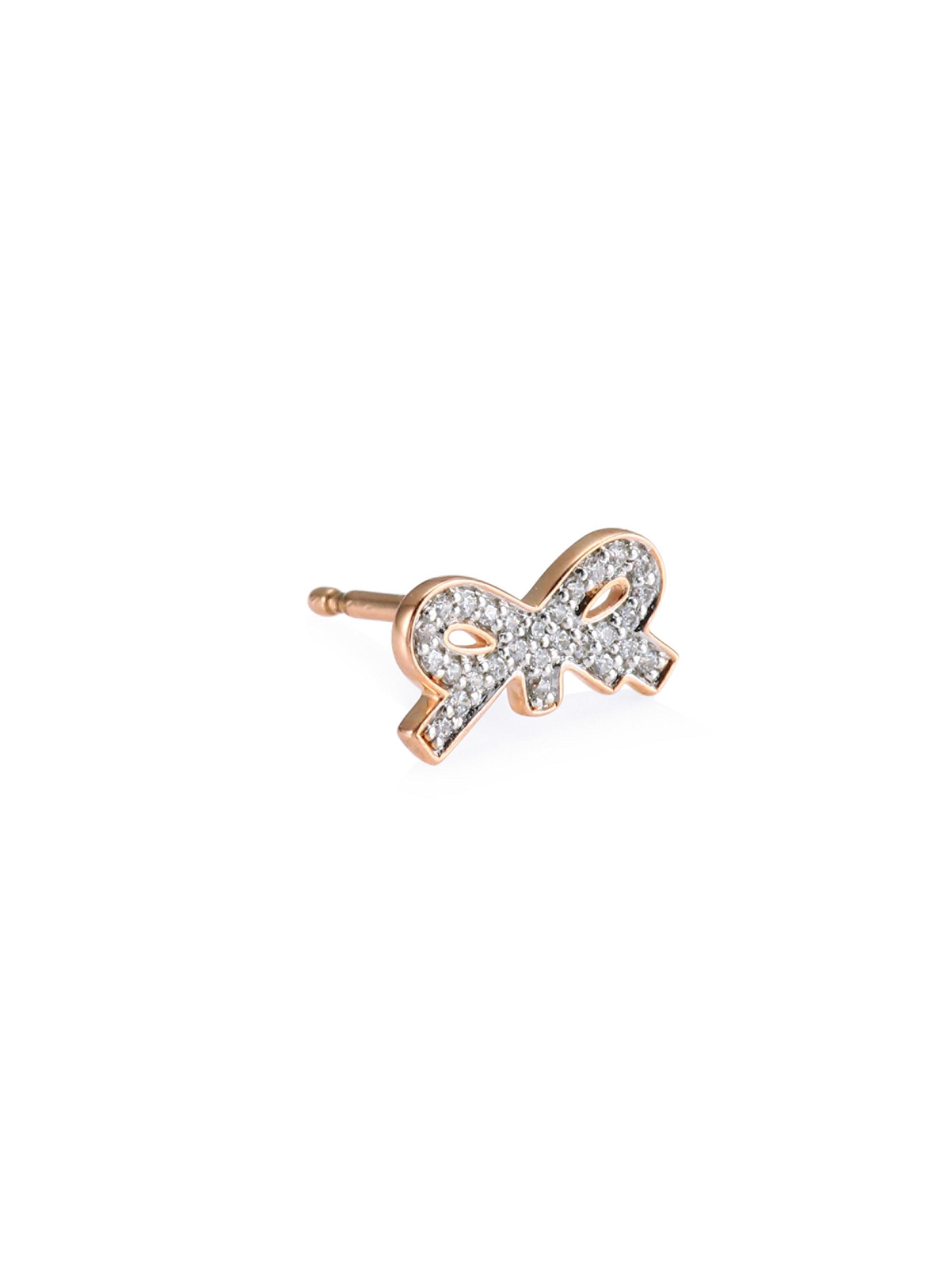 Single Tiny Diamond Star Stud Earring in 18K Rose Gold and Diamonds Ginette NY Ka3mHxGUDR