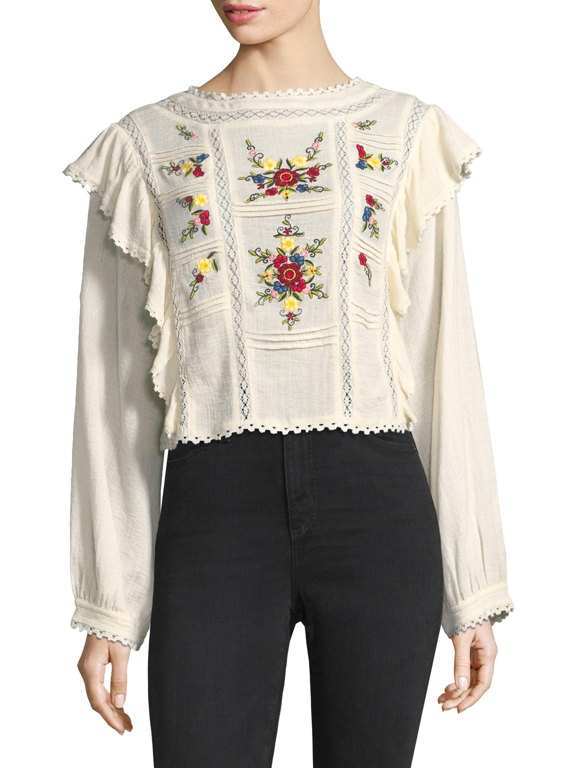 844e5d6e55ddf0 Free People The Amy Embroidered Top - Lyst