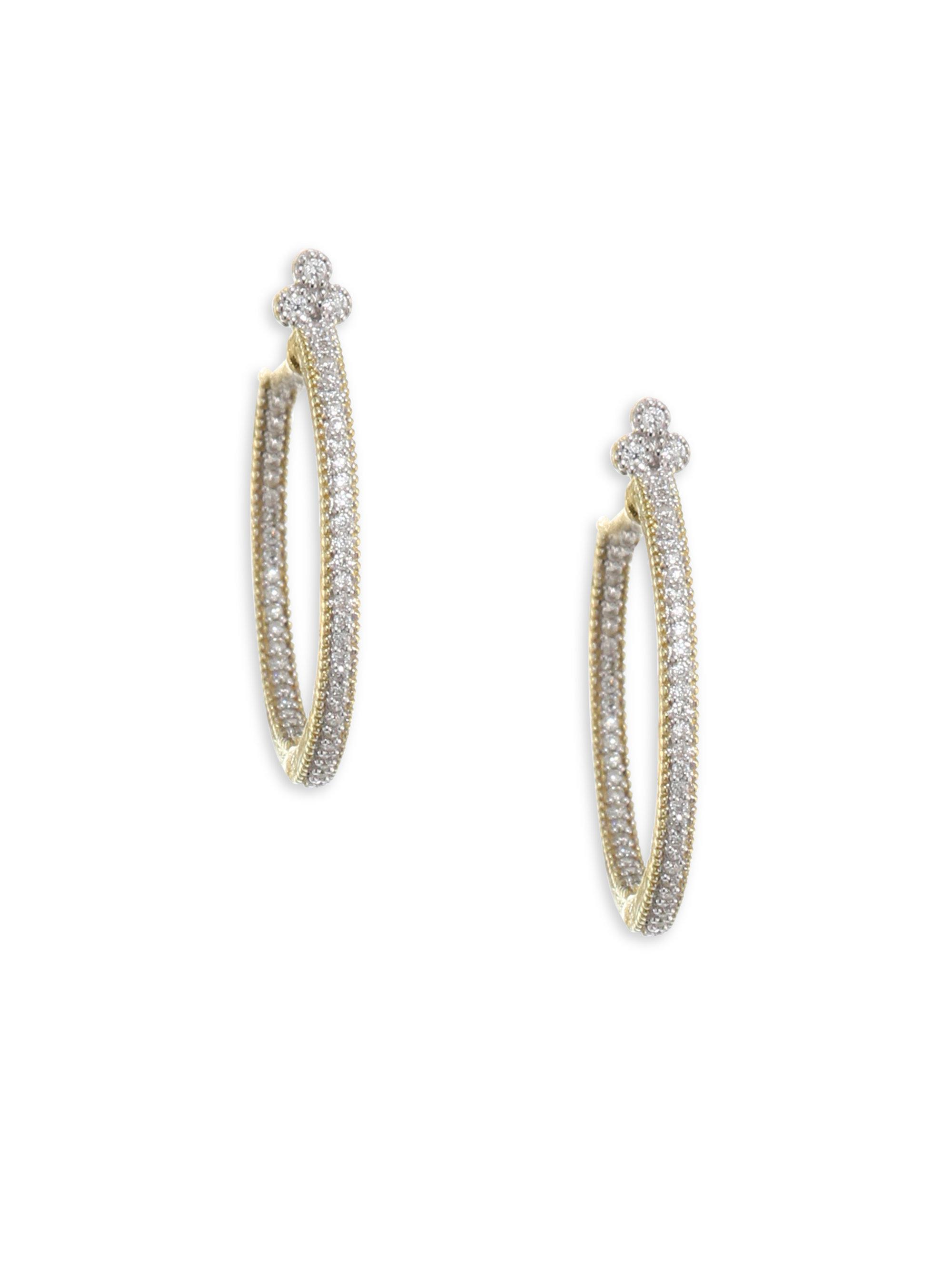 Jude Frances 18k Pave Diamond Leaf Hoop Earrings fsCzHD