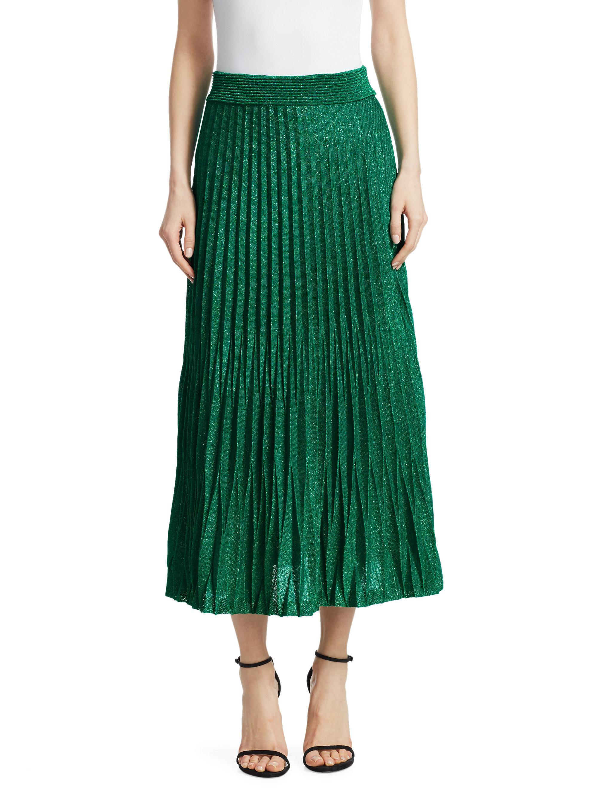 e8c7dbe5e4 Maje Woman Plissé Metallic Jersey Midi Skirt Emerald in Green - Lyst