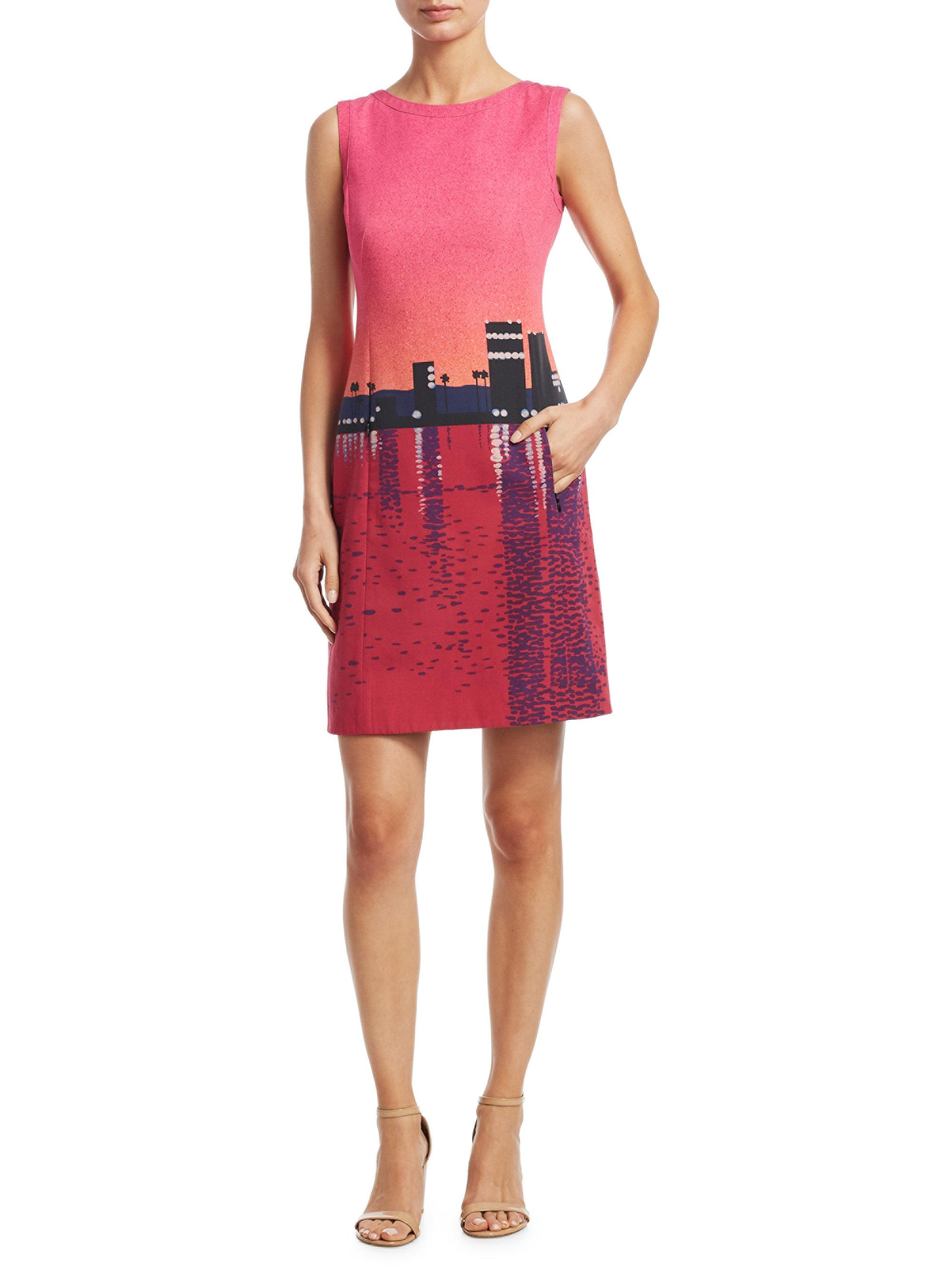 Lyst - Akris Punto Sunset Print Cotton Shift Dress in Red