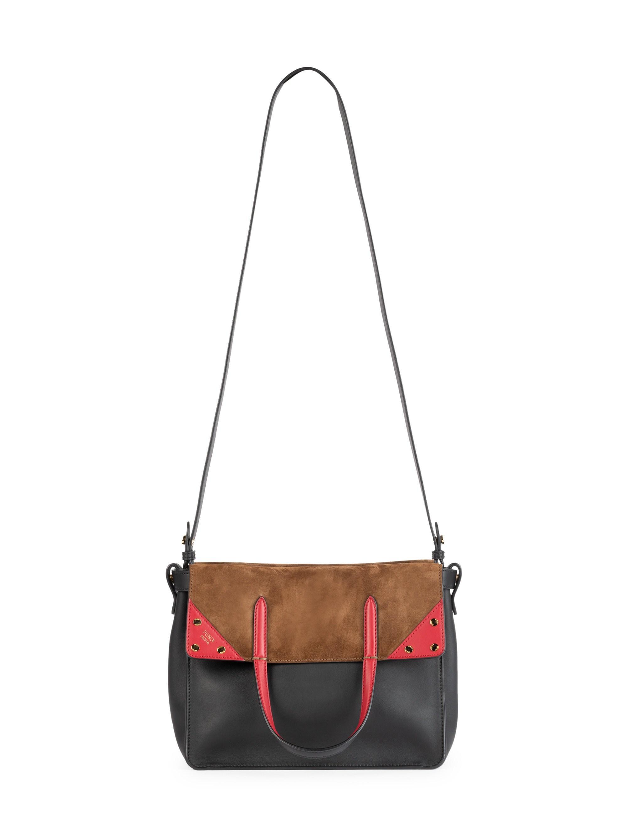 Lyst - Fendi Women s Leather   Suede Tri-tone Foldover Tote 0526617350f1a