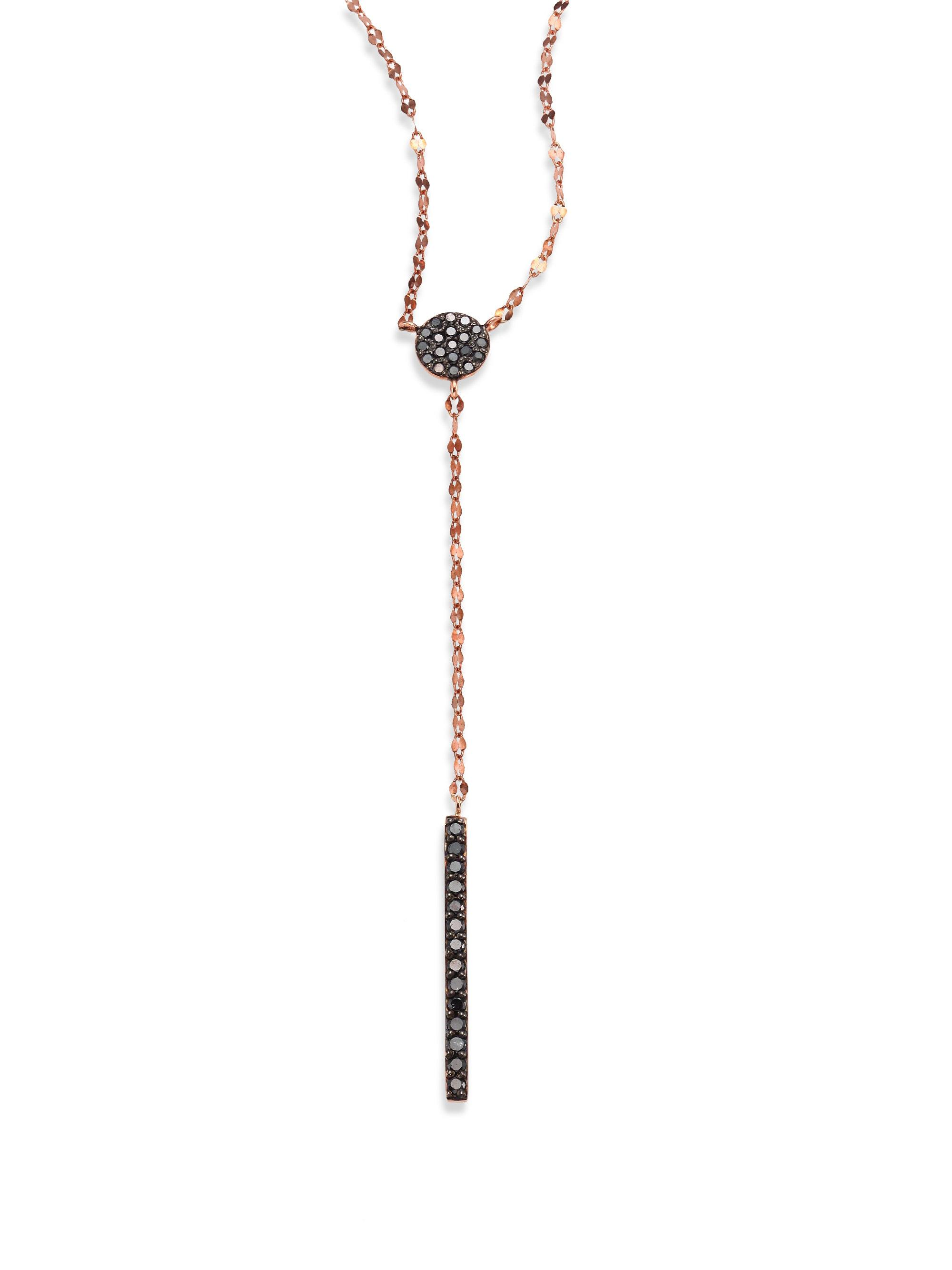 Lana Jewelry Reckless Vol. 2 14K Rose Gold Circle Bar Lariat Necklace with Black Diamonds gBae3o9
