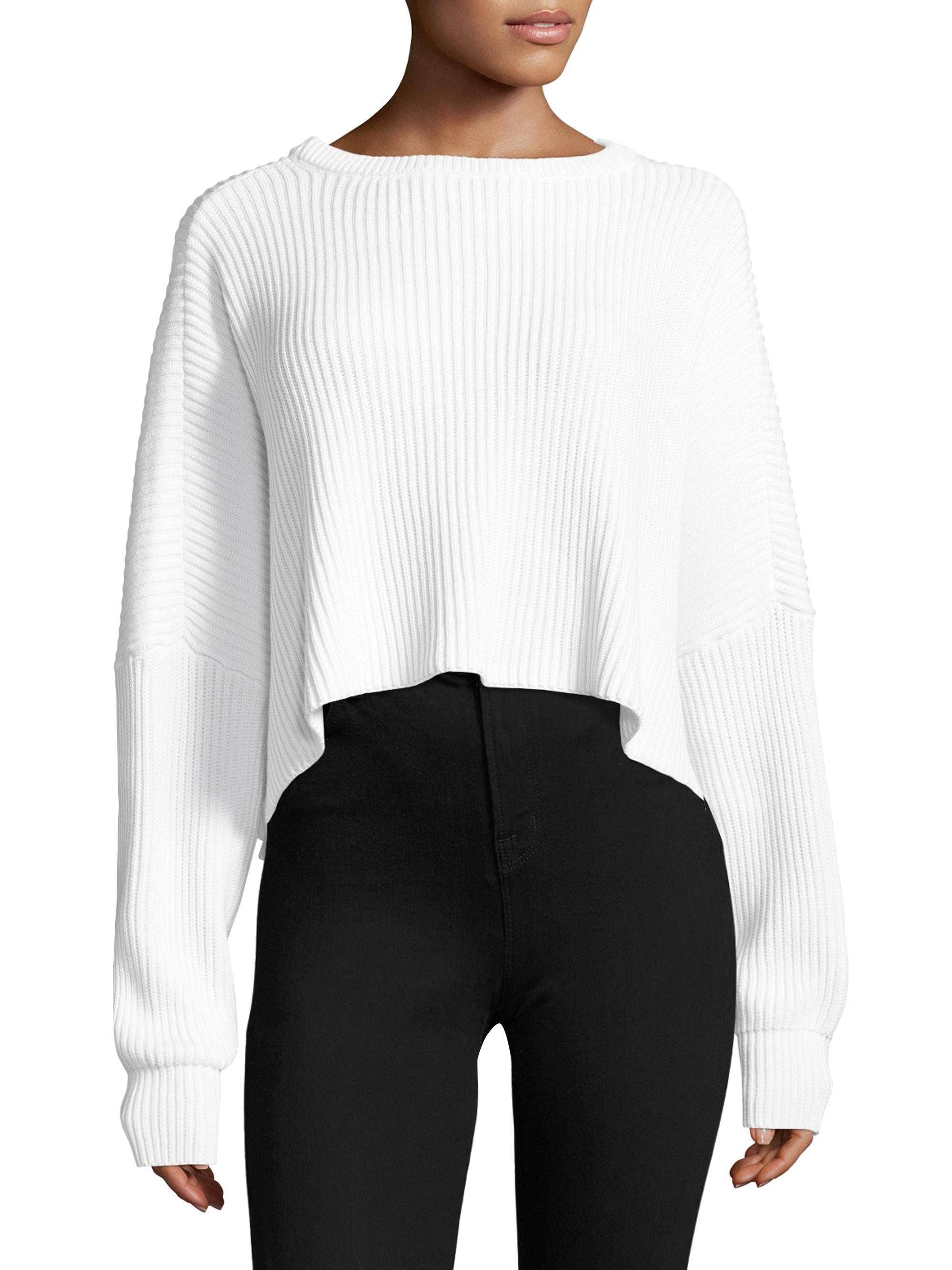 Free people Festival Pier Pullover Slouch Cropped Sweater in White ...