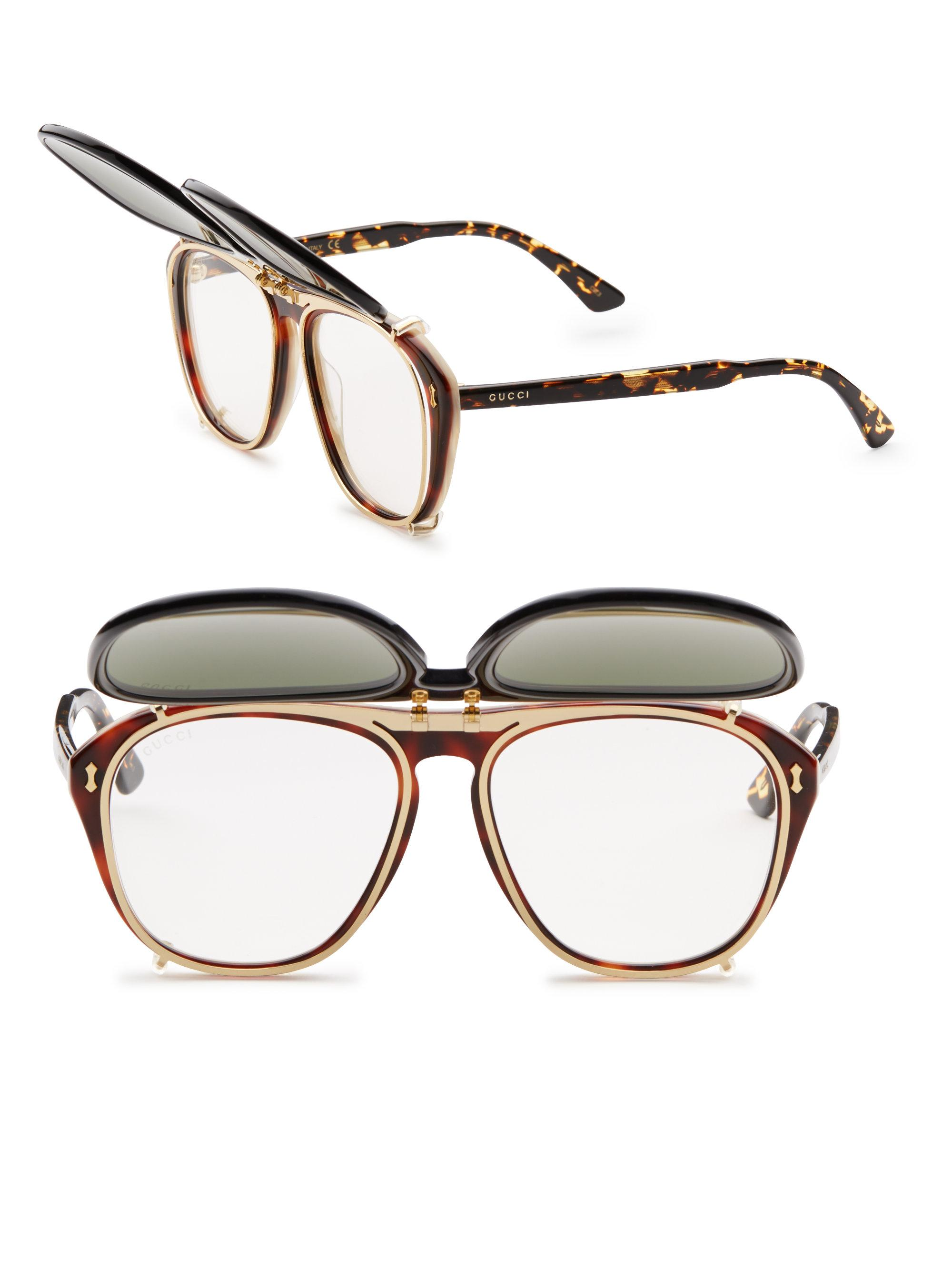57ef46370ff Lyst - Gucci 56mm Clip-on Frame Sunglasses for Men