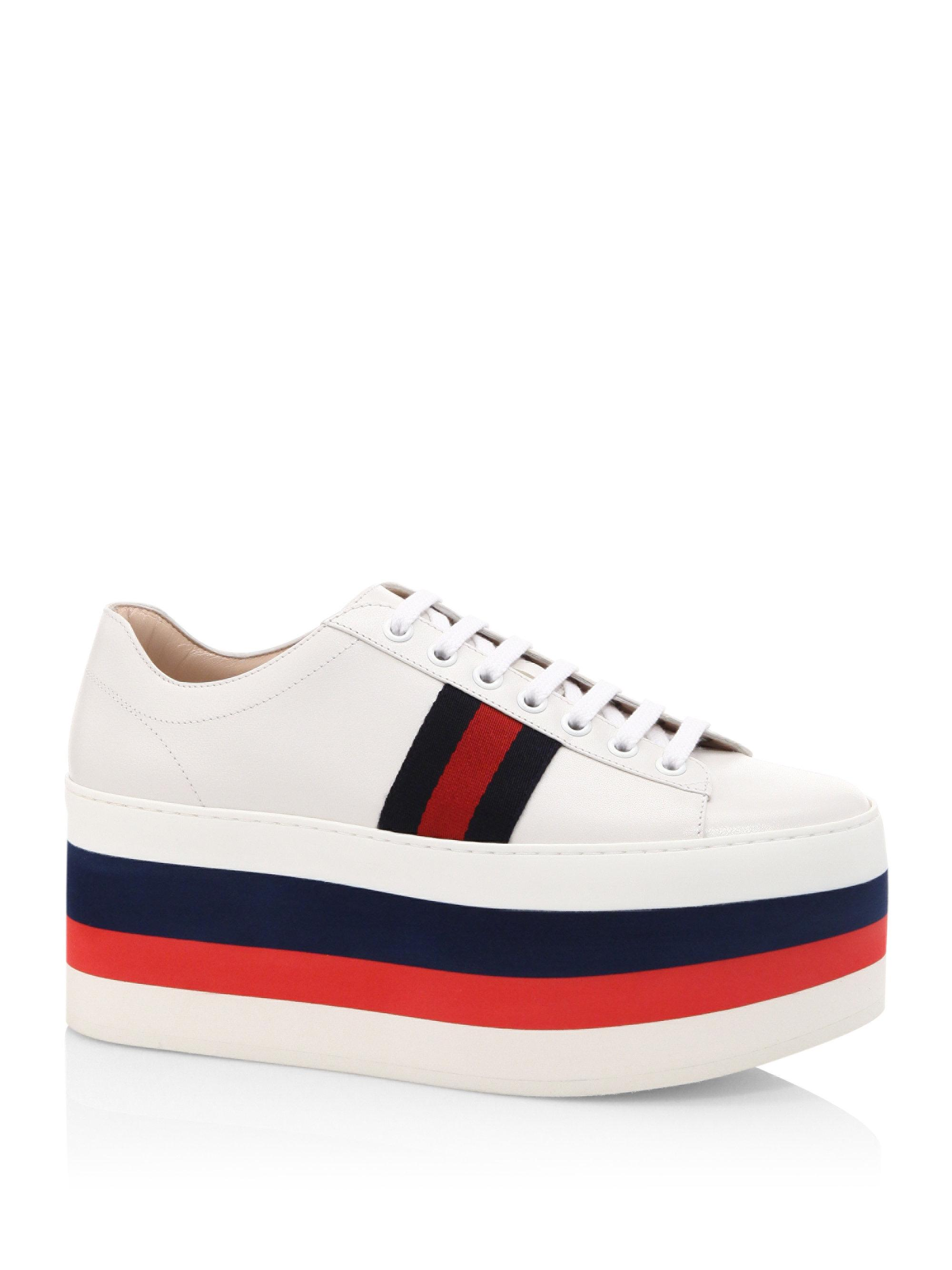 989e79e51 Gucci Peggy Leather Rainbow Platform Sneakers in White - Lyst