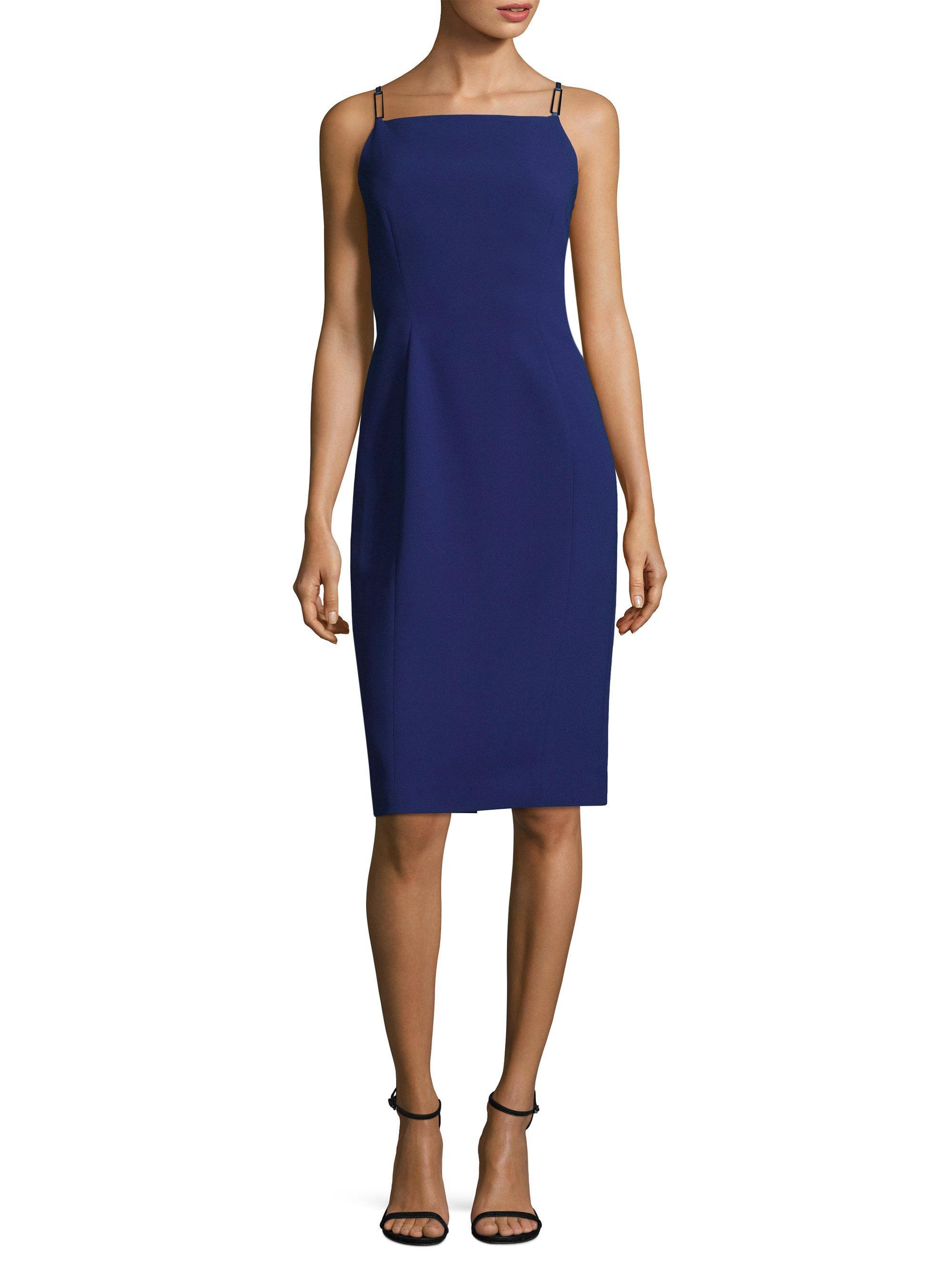 Lyst elie tahari vereda knee length sheath dress in blue for Saks fifth avenue wedding guest dresses