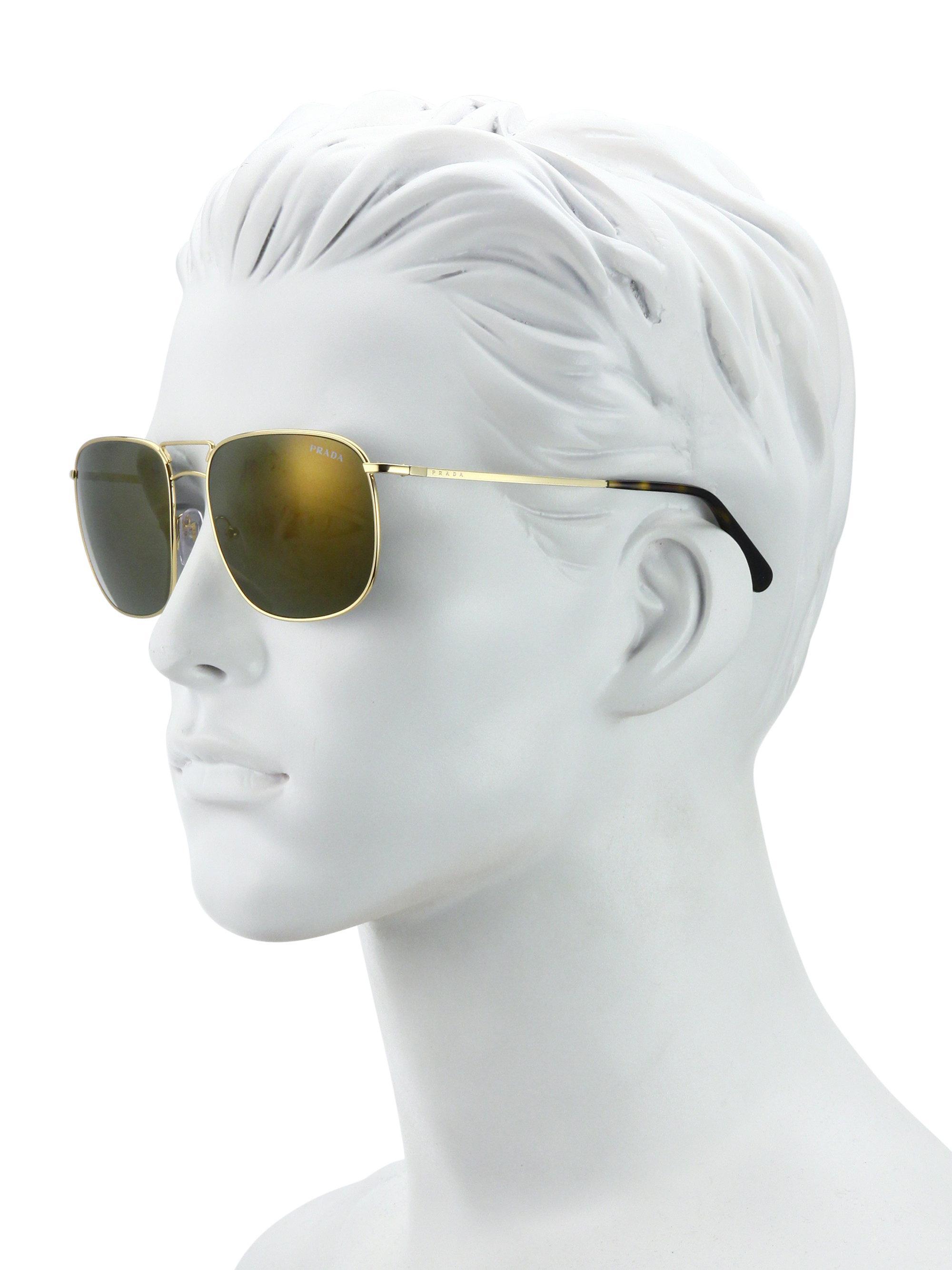 6def753b63 Lyst - Prada 60mm Pillow Sunglasses in Metallic for Men