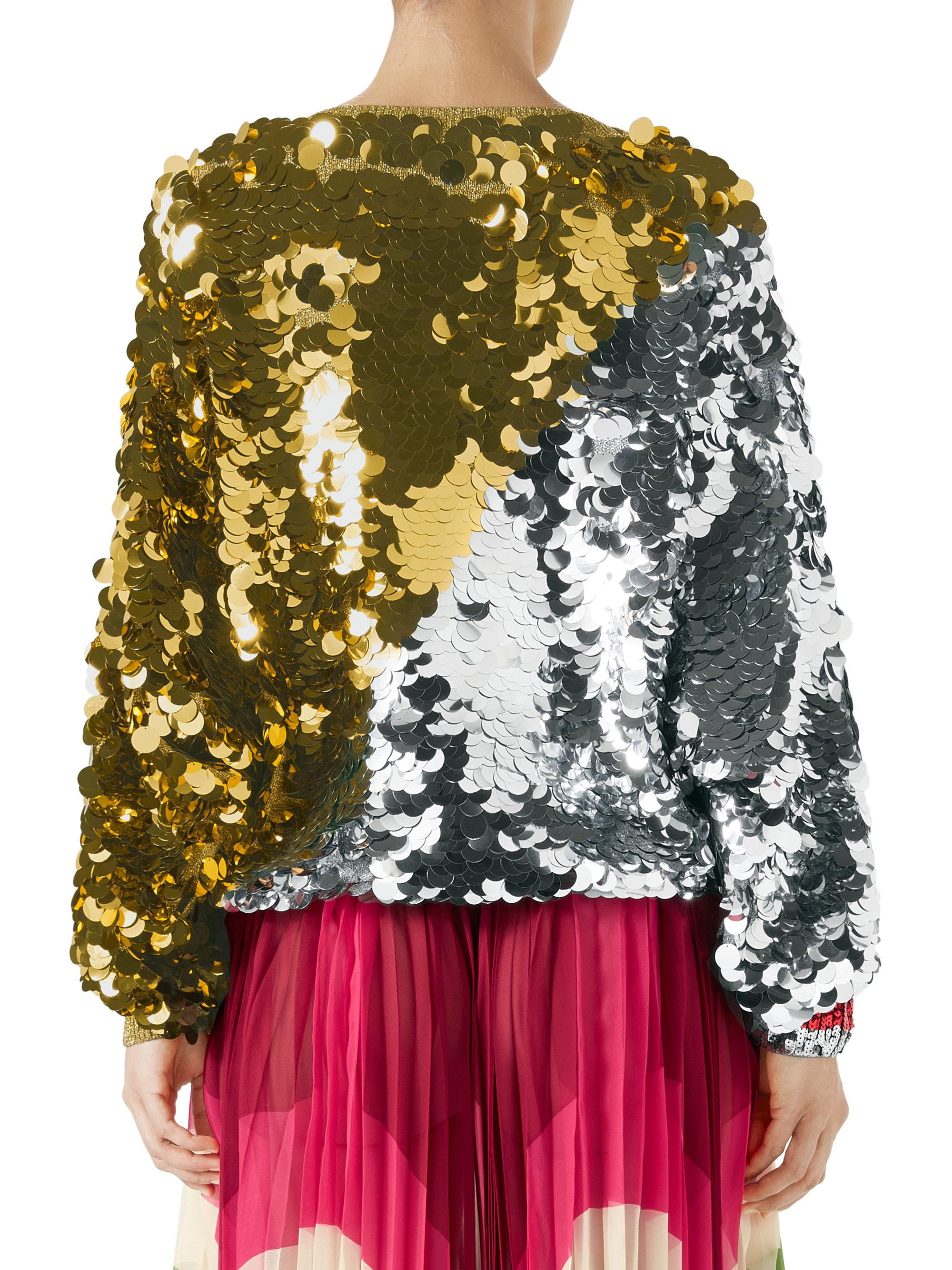7c6124749b10 Lyst - Gucci Gold And Silver Sequin Top in Metallic