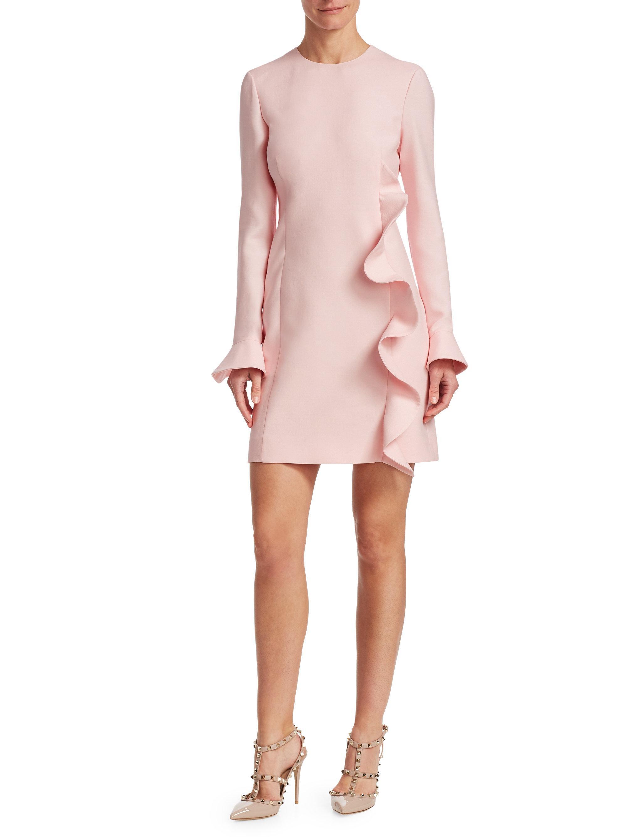 1202a699 Lyst - Valentino Ruffled Wool & Silk Sheath Dress in Pink