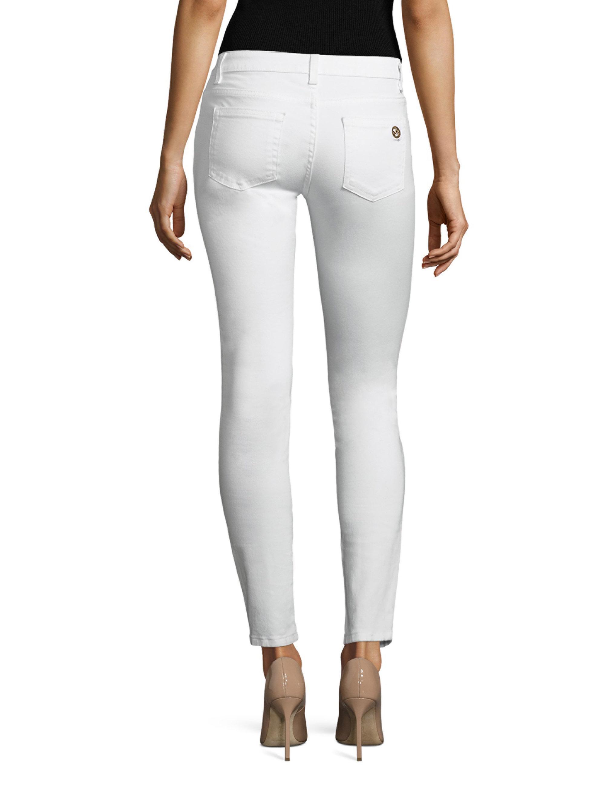 a54aa4e9d857 MICHAEL Michael Kors Slim-fit Izzy Zip Denim Pants in White - Lyst