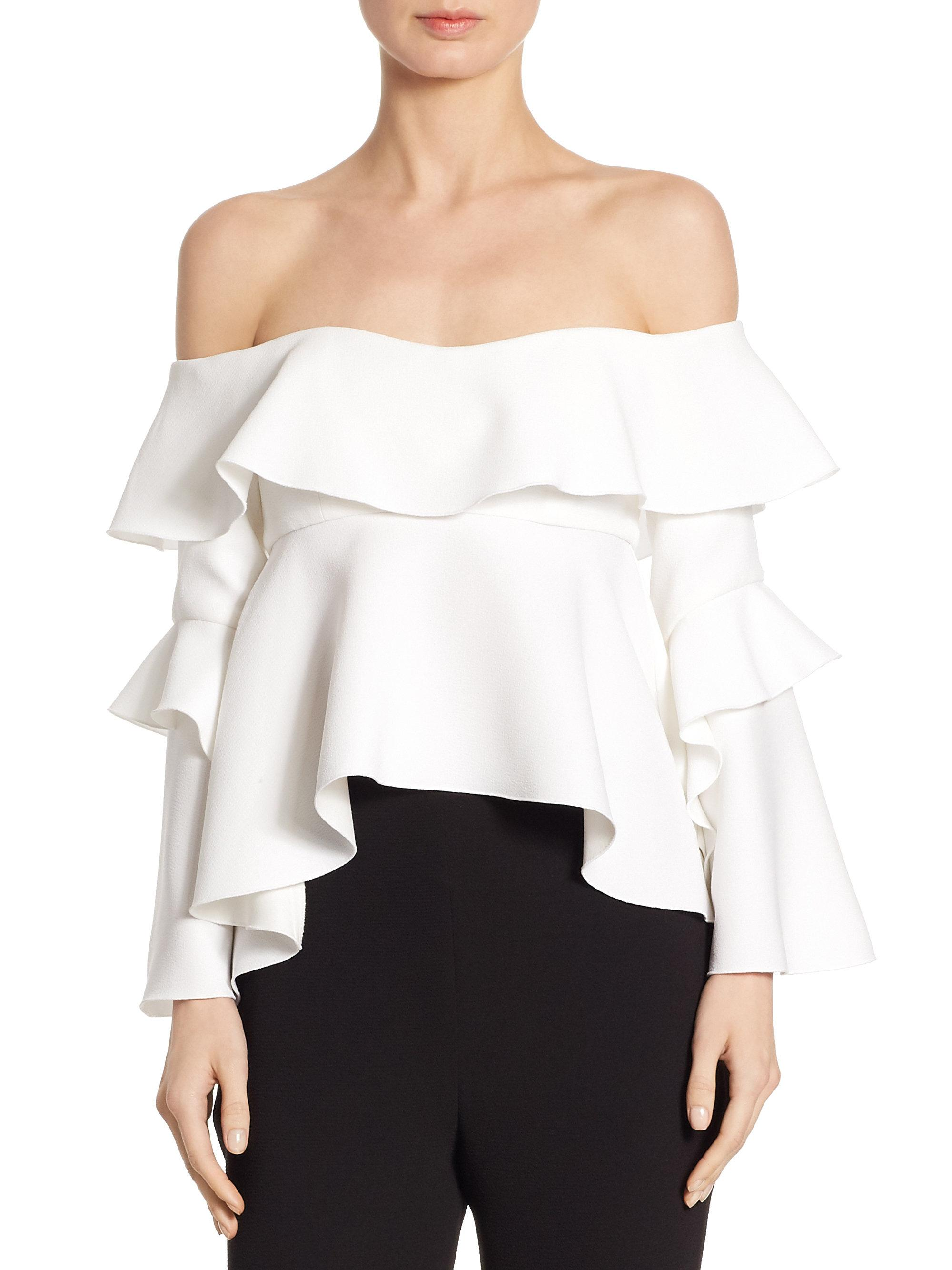 60e8c2c7db6 Nicholas Crepe Off-the-shoulder Frill Top in White - Lyst