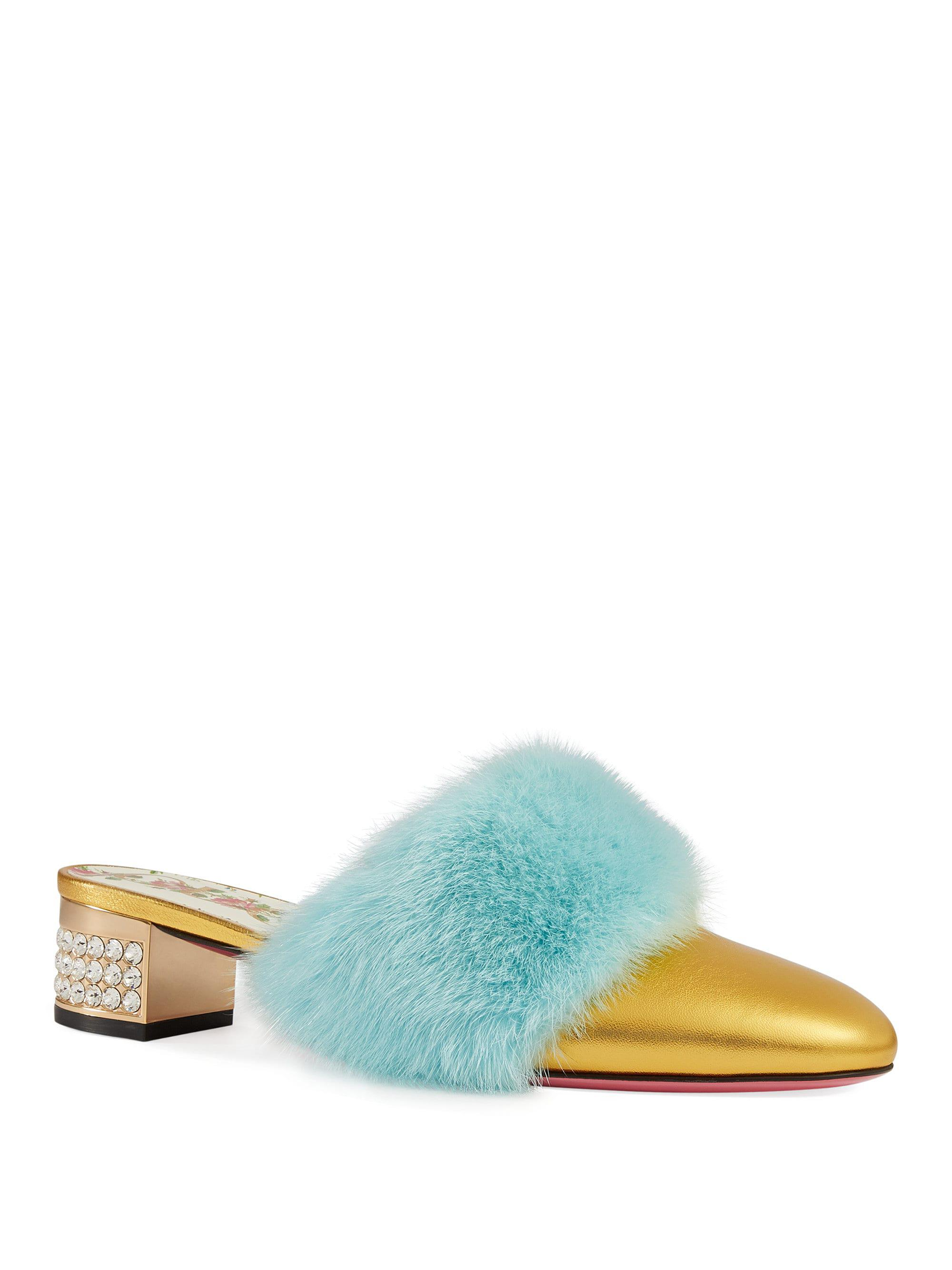 41a48d794e3 Lyst - Gucci Leather Slides With Mink Fur in Blue