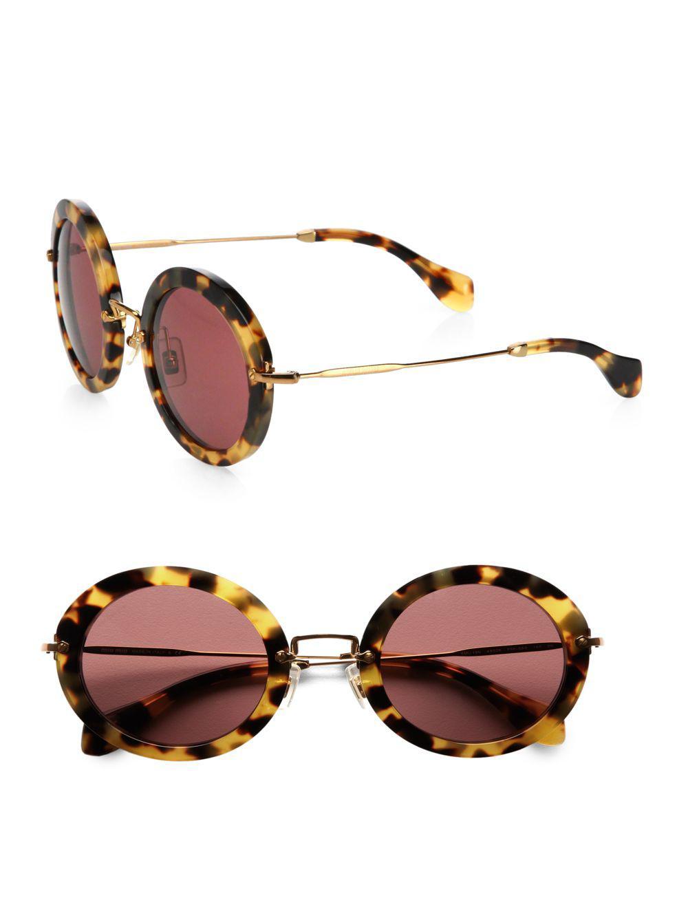 af485f3abf47 Miu Miu. Women s Retro Noir Round Acetate Sunglasses