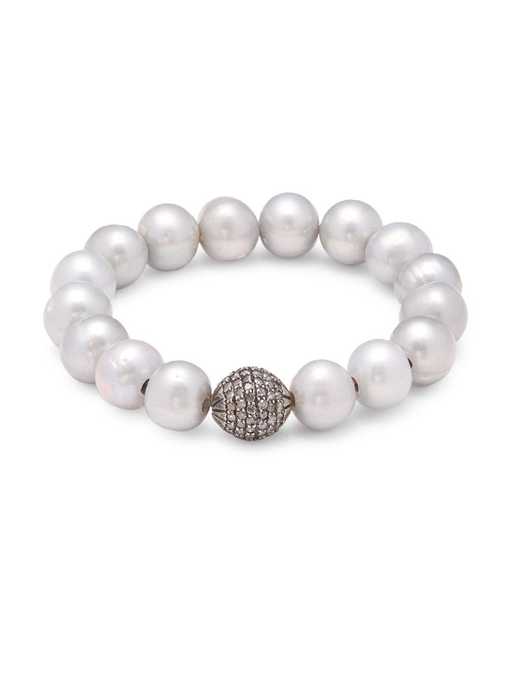 Bavna Pearl & Diamond Pavé Bracelet lKzZe6
