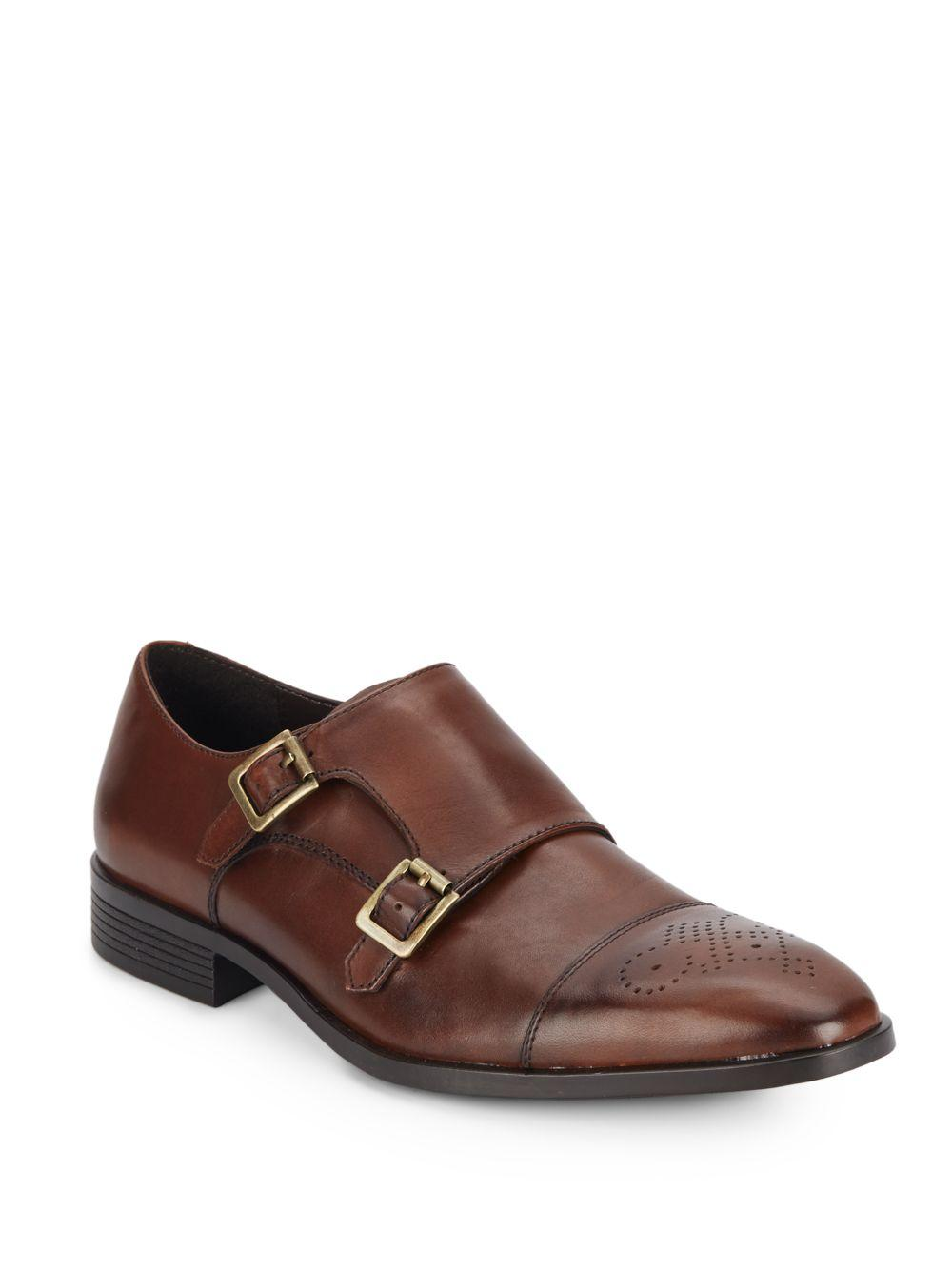 saks fifth avenue leather monk dress shoes in brown