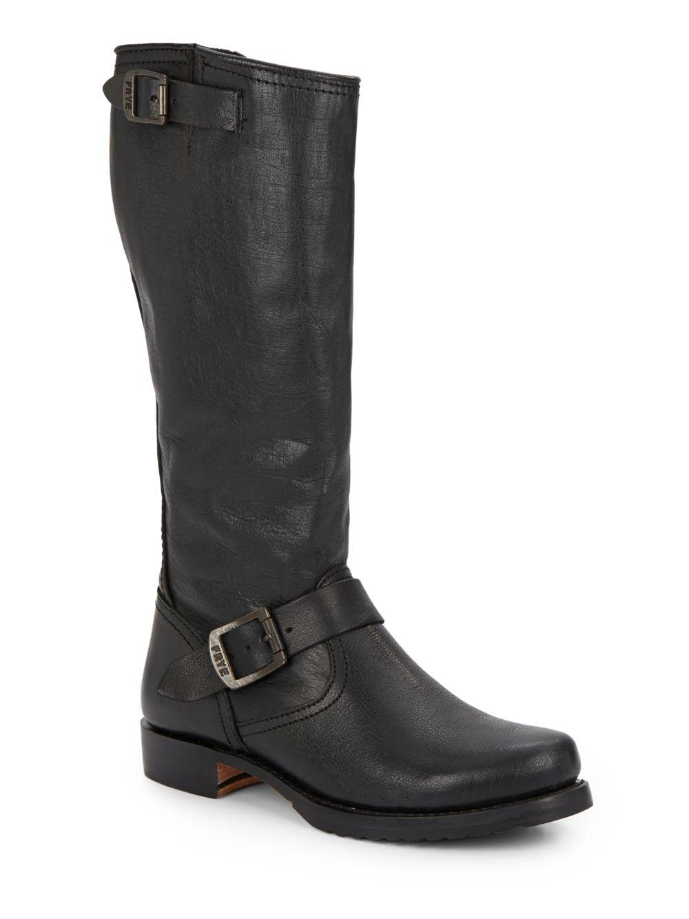 frye leather boots in black lyst
