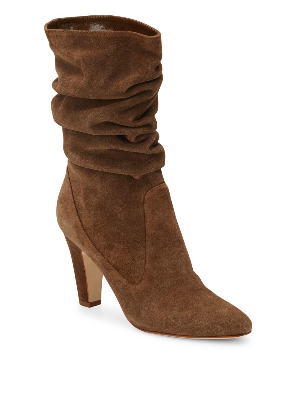 manolo blahnik artesina suede slouchy mid calf boots in
