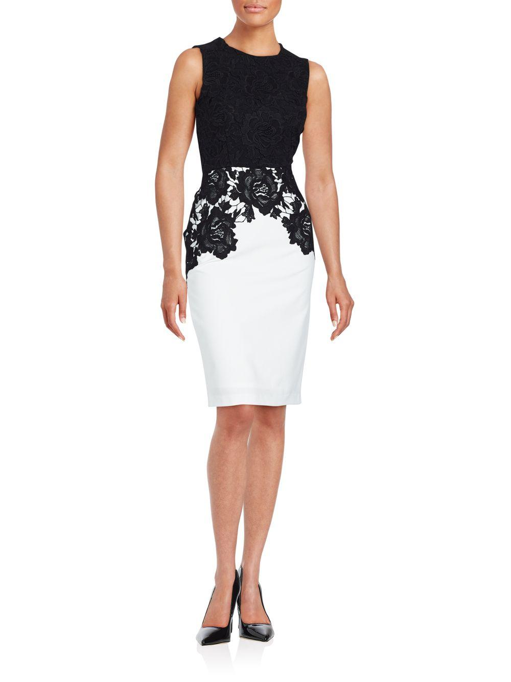 Lyst Calvin Klein Crewneck Floral Lace Embroidered Dress