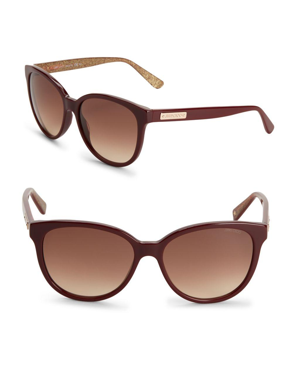 3776a39133de Lyst - Jimmy Choo Gradient Goldtone Logo Etched Sunglasses in Red