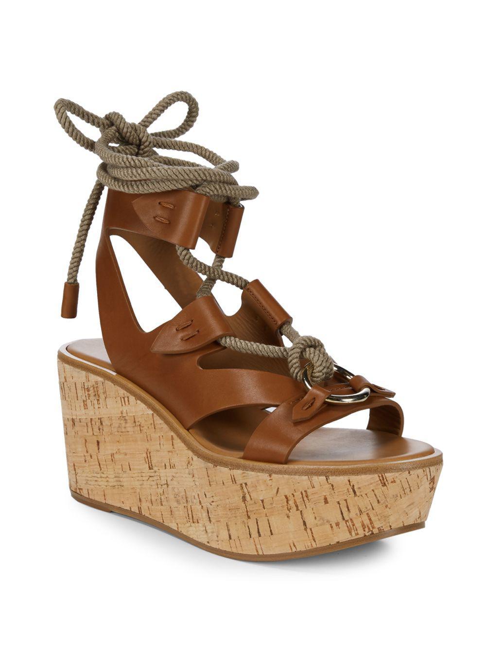 f9aac2434494 Frye - Brown Dahlia Robe Wedge Sandals - Lyst. View fullscreen