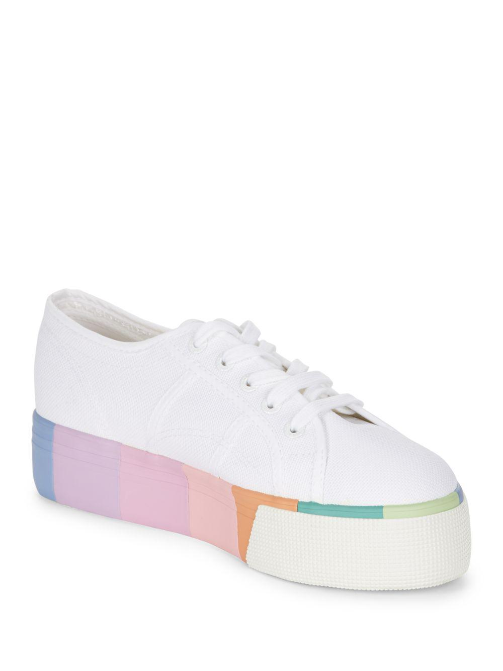 Lyst - Superga Striped Sole Platform Sneakers in White