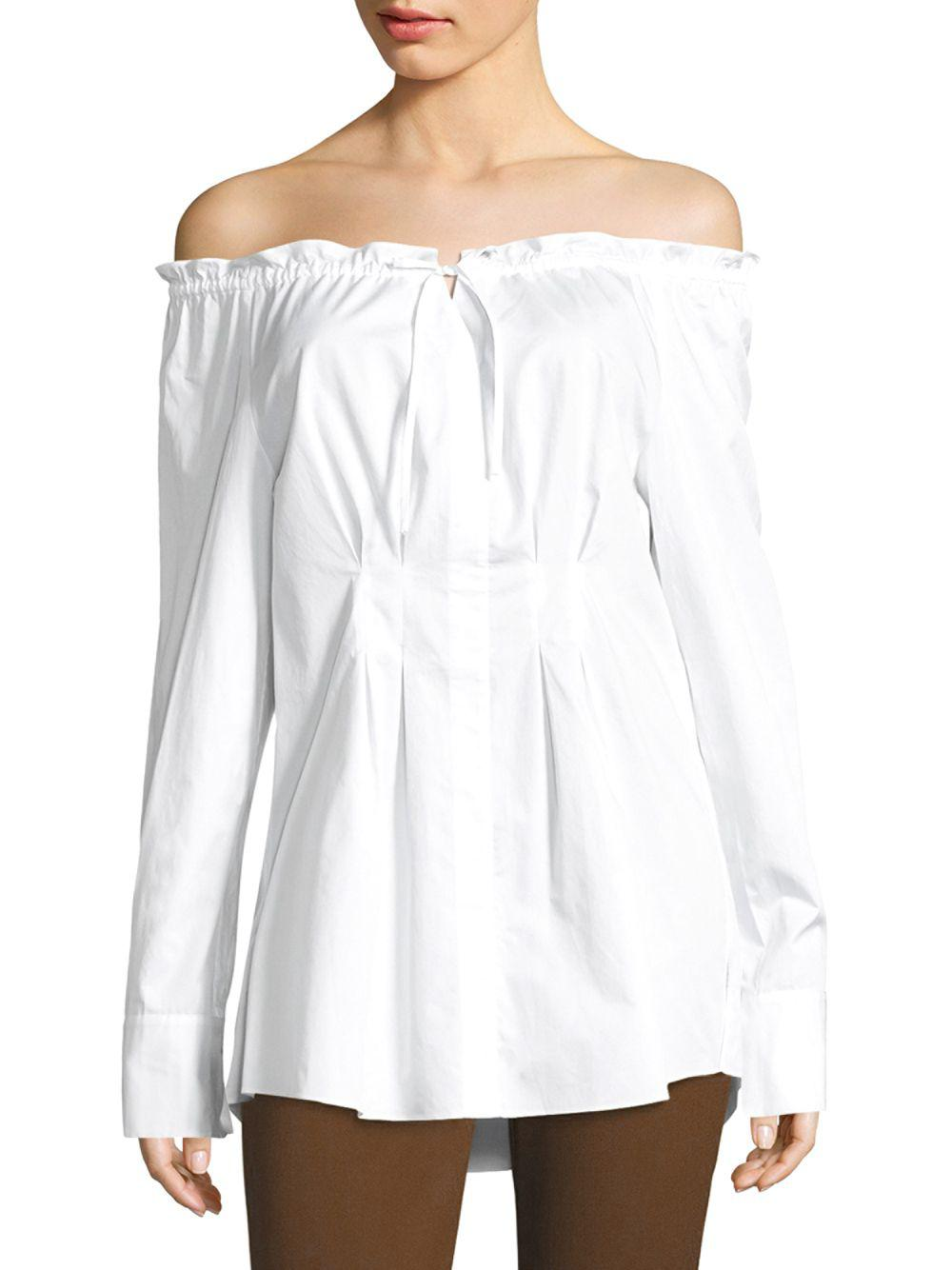 3e0dae2cbda Tibi Ruched Off-the-shoulder Shirt in White - Save 25% - Lyst
