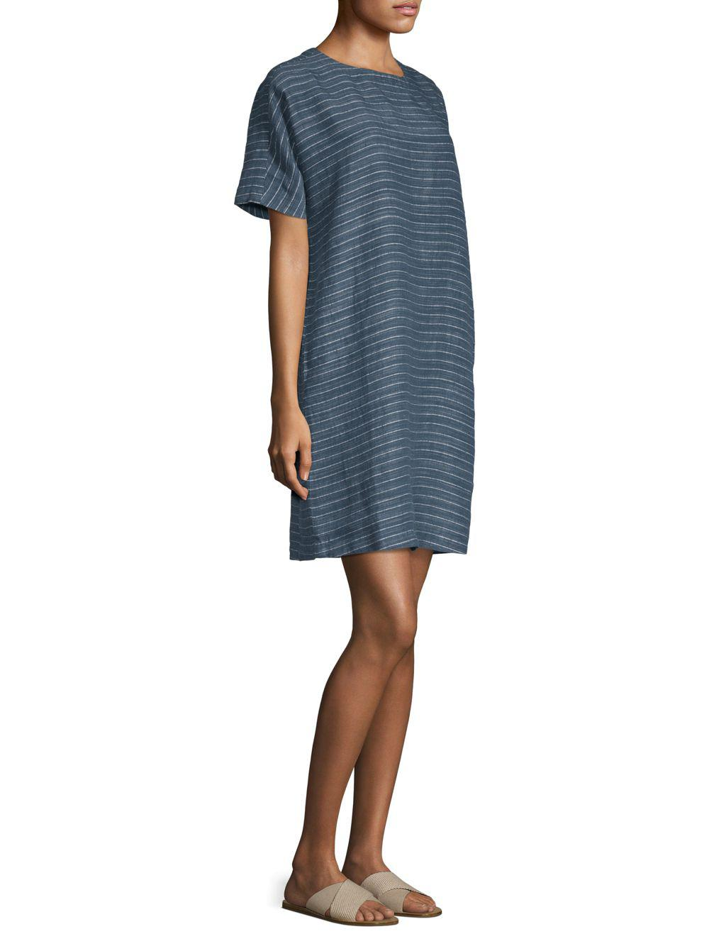 73acb8b54d8 Lyst - Eileen Fisher Striped Linen Tunic Dress in Blue - Save 1%