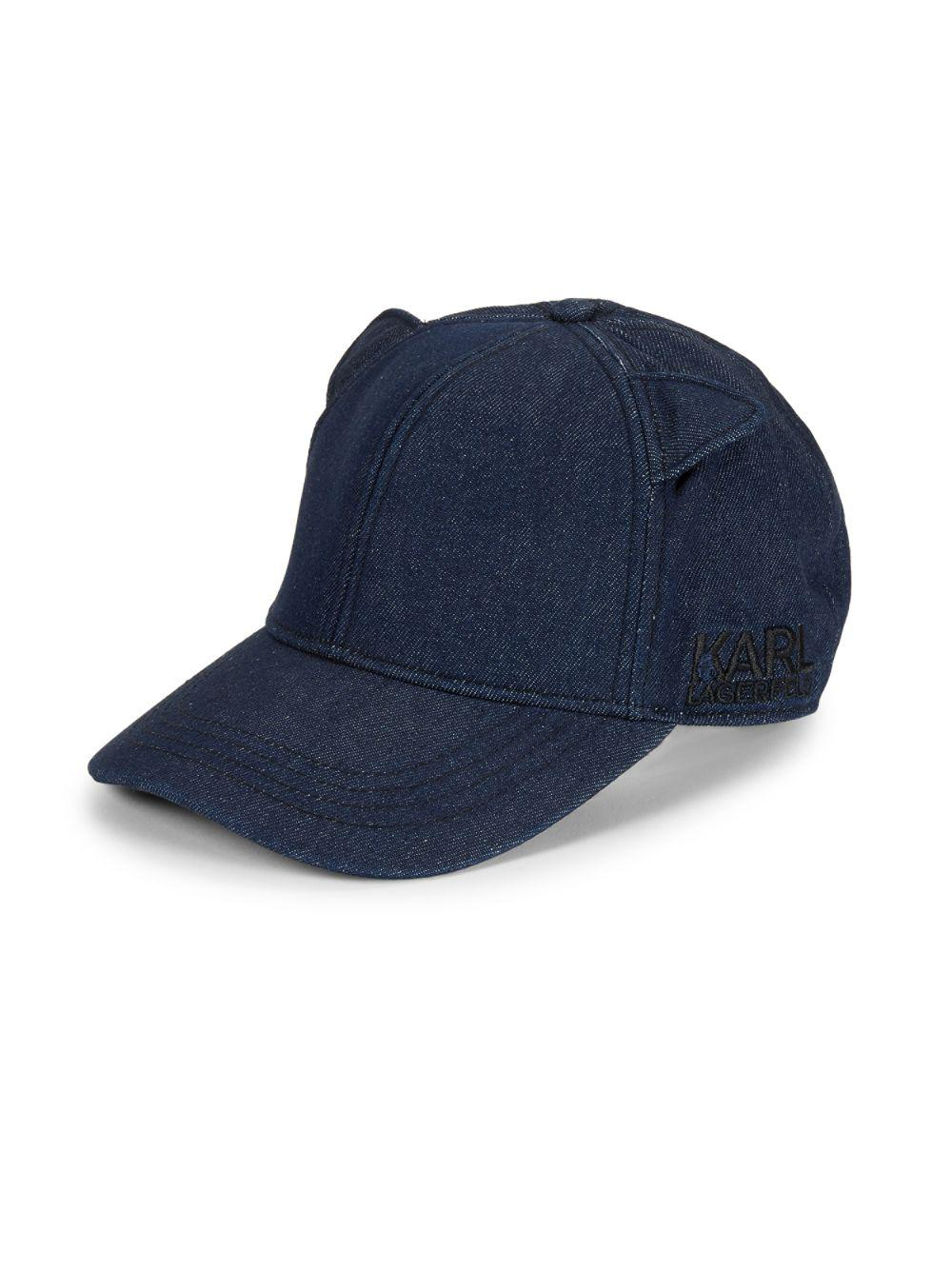 dc20d7f8a69 Karl Lagerfeld Cat Ear Baseball Cap in Blue for Men - Lyst