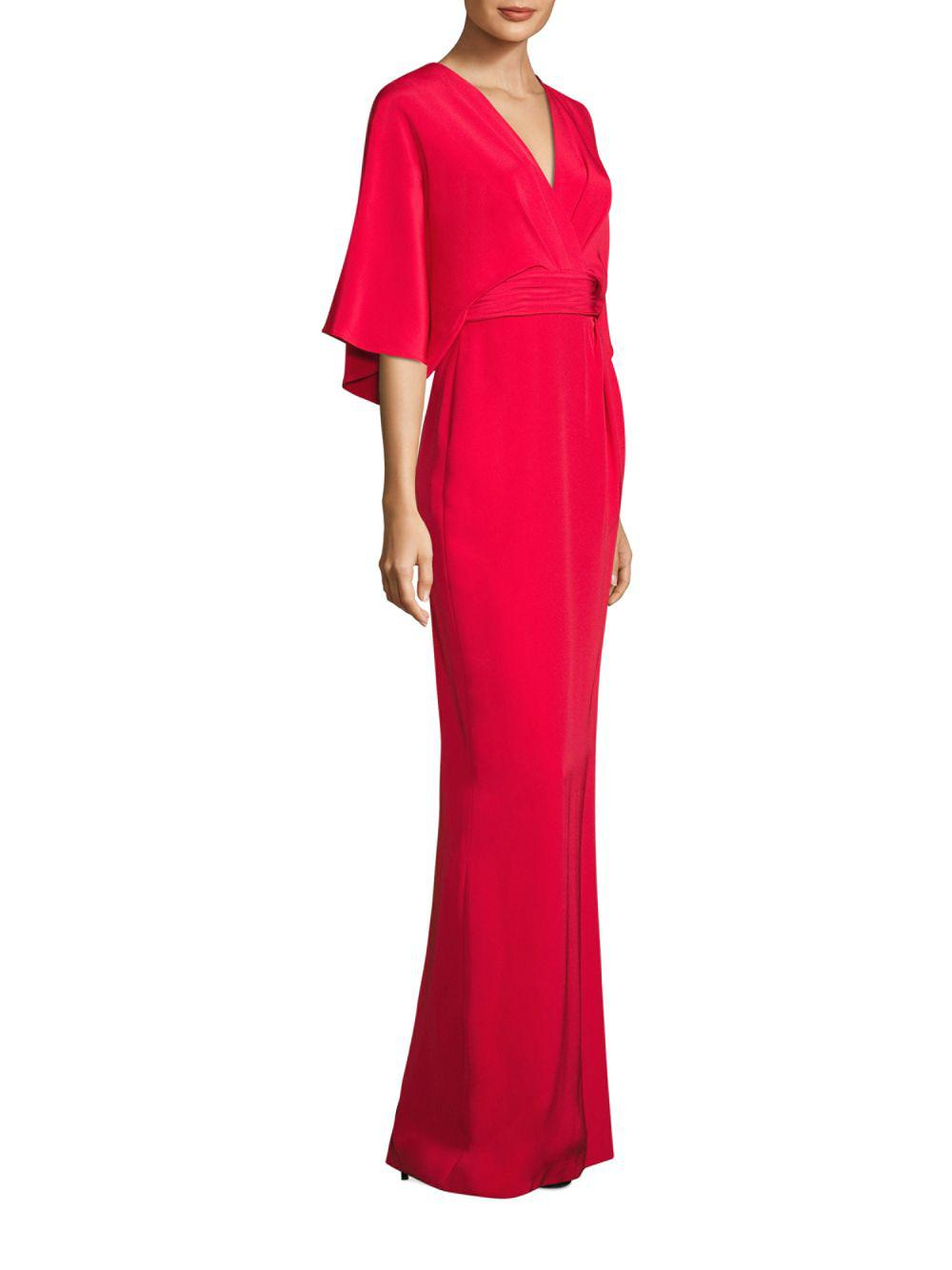 Lyst - Theia Solid Silk Blend Kimono Gown in Red - Save 13%