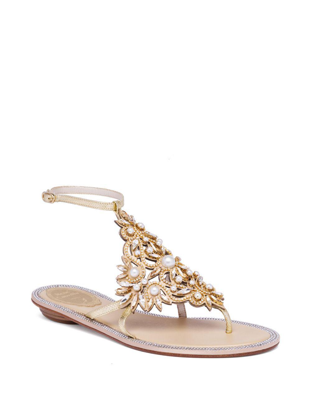 93483cd1ff4ab Lyst - Rene Caovilla Embellished Metallic Sandals in Metallic