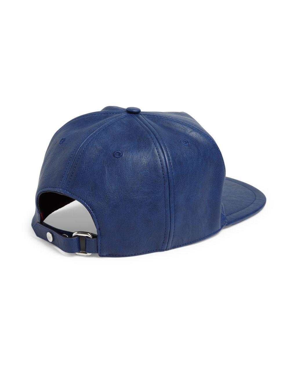 Lyst - Ferragamo Gancini Logo Vegan Leather Hat in Blue for Men 4f4928740541