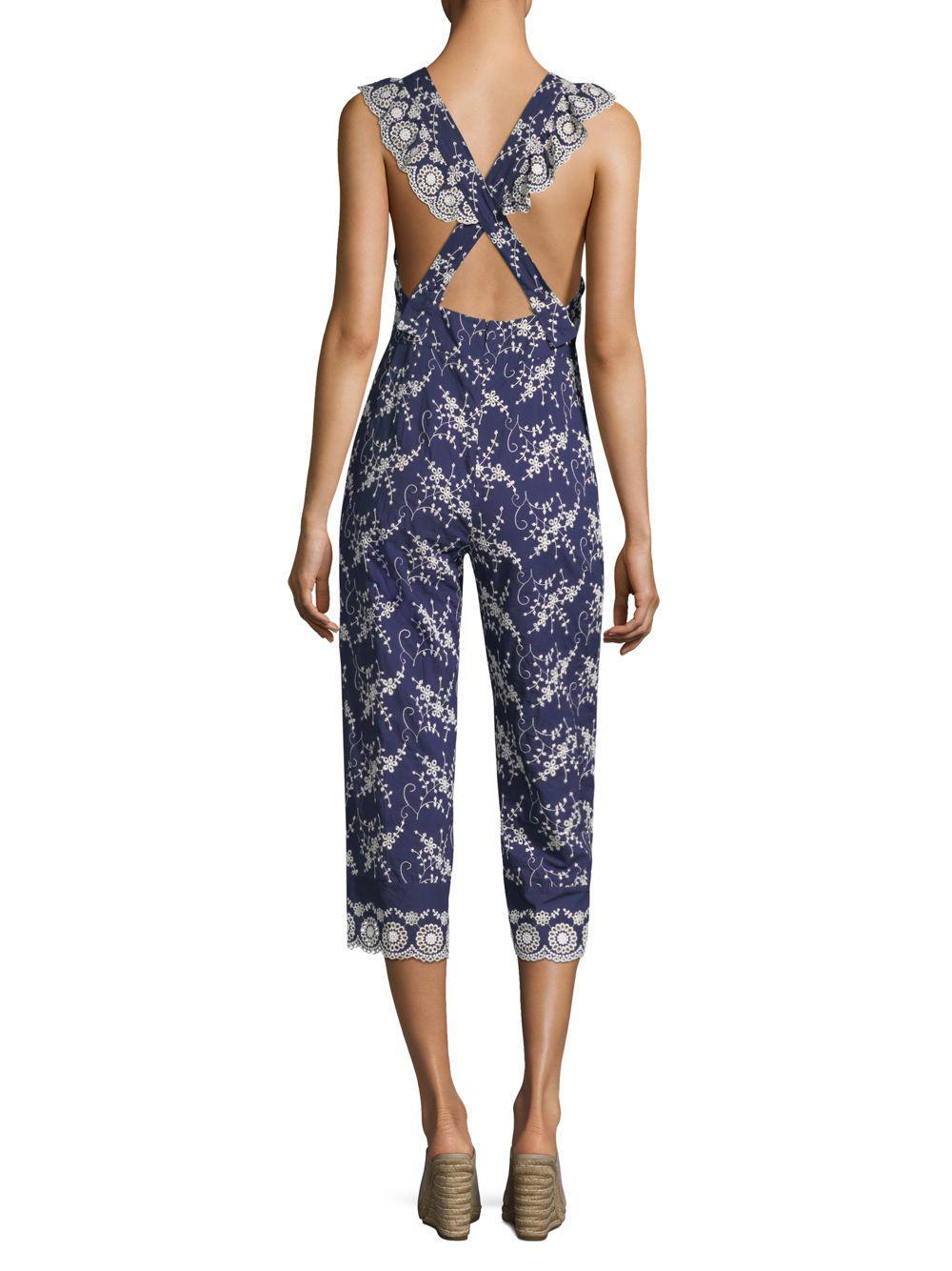 d28f78e1cad Nightcap Olive Lace Apron Jumpsuit in Blue - Save 15.26717557251908 ...