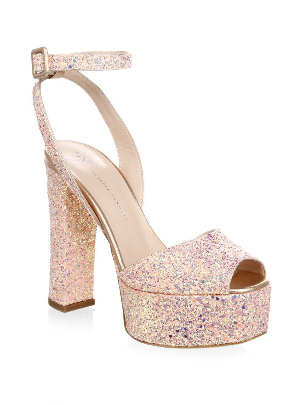 bdf0257d2 Giuseppe Zanotti Lavinia Glitter Leather Platform Sandals - Lyst