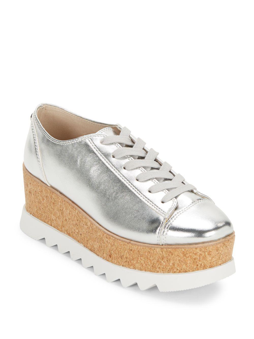 19d2ea29b82 Lyst - Steve Madden Kelani Metallic Lace-up Sneakers in Metallic