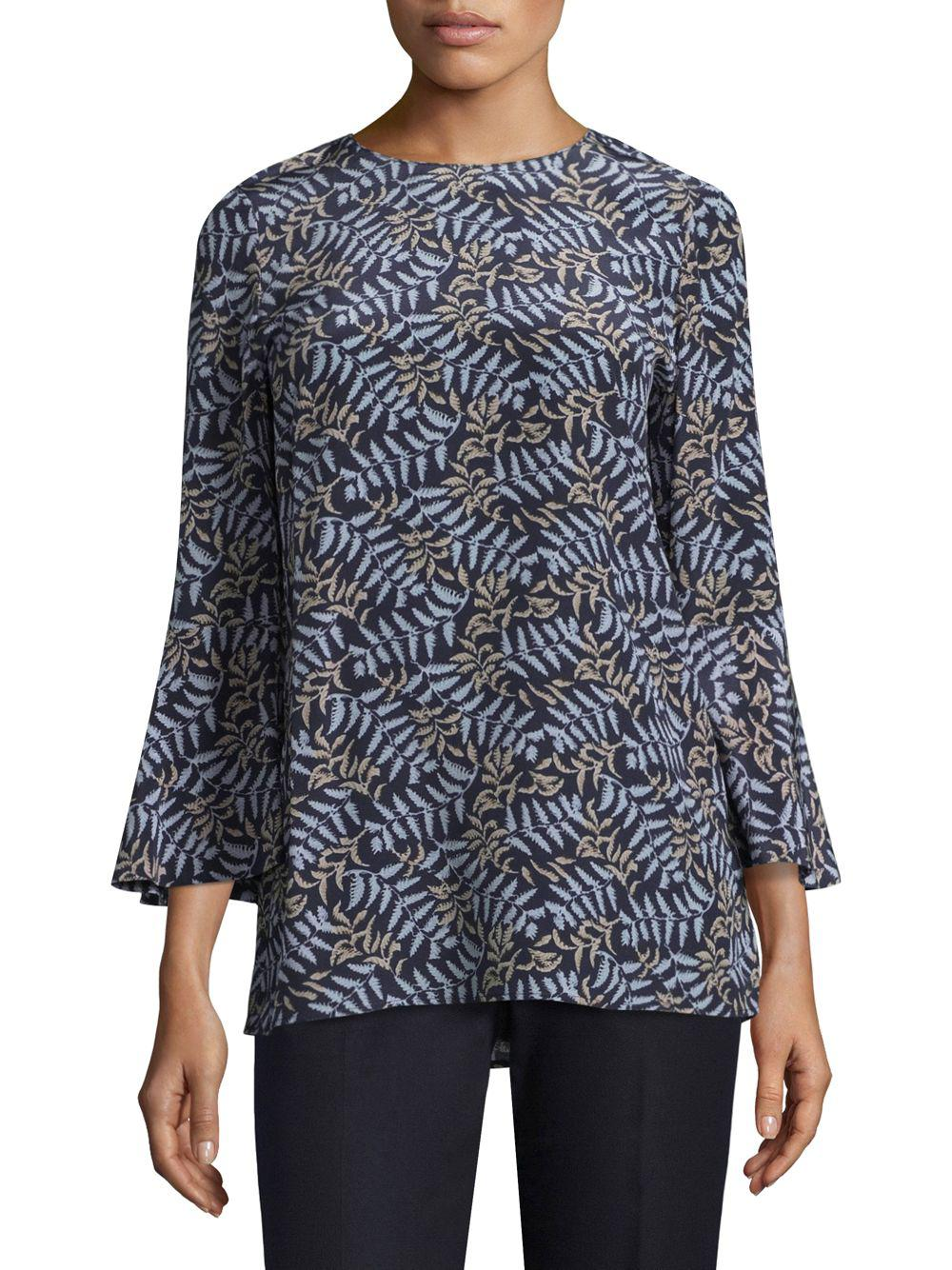 e7cd3db8a7f18 Lyst - Lafayette 148 New York Sidra Printed Blouse in Blue - Save 42%