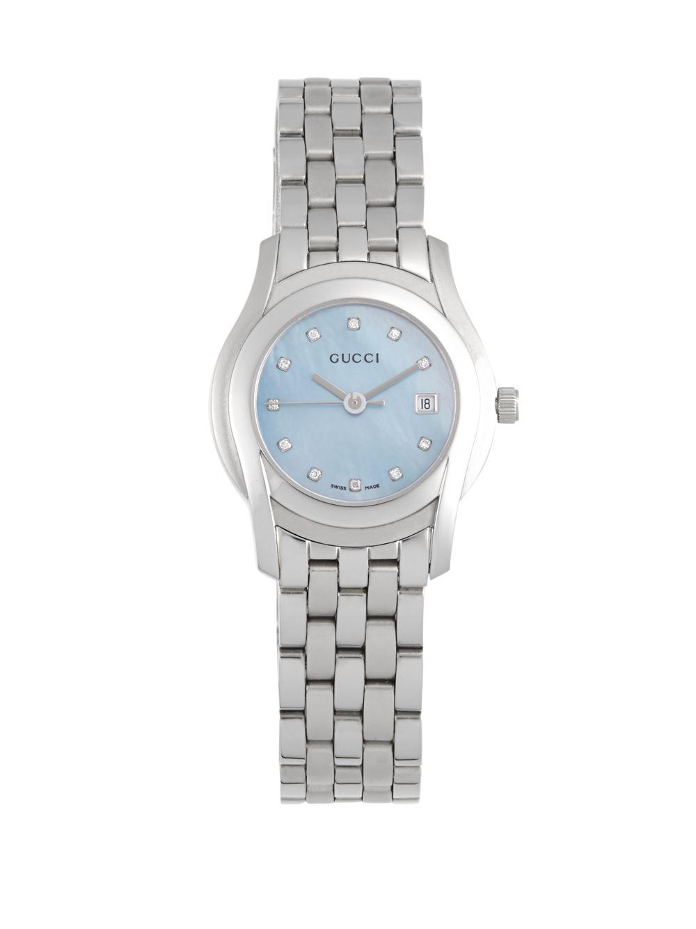 c762ca3358e Lyst - Gucci Diamond Hour Marker Swiss Quartz Watch in Blue