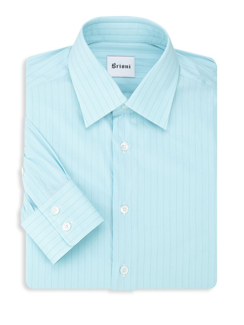 Lyst Brioni Striped Dress Shirt In Blue For Men