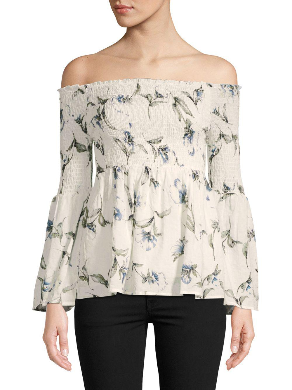 Lyst - Lucca Couture Eden Floral Off-the-shoulder Top - Save 49% cca6c81d2