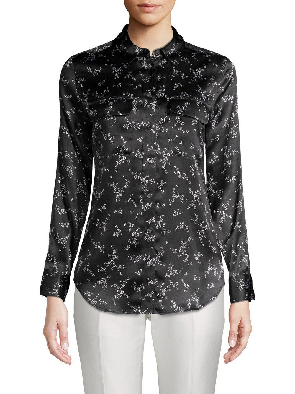 fe420d98d36a90 Lyst - Equipment Slim Signature Floral Silk Shirt in Black - Save 67%