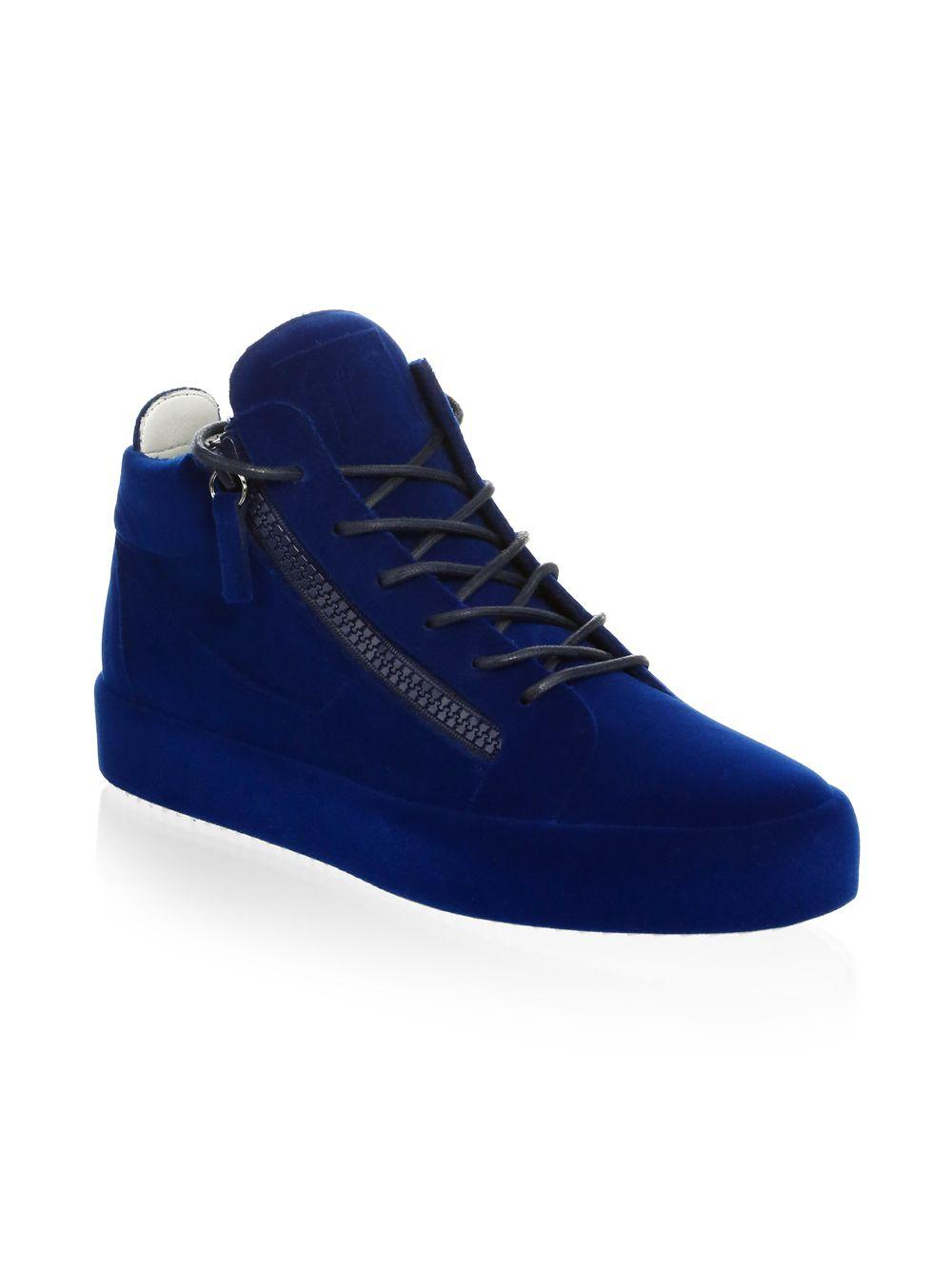 53fbb20d49a3b Giuseppe Zanotti Velvet Spray High-top Sneakers in Blue for Men ...