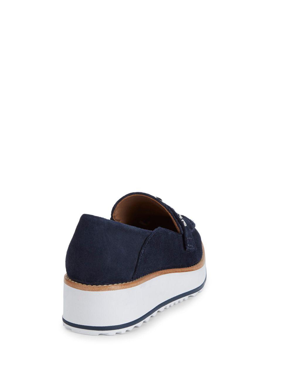 9401f5012e5 Lyst - Bernardo Suede Platform Loafers in Blue