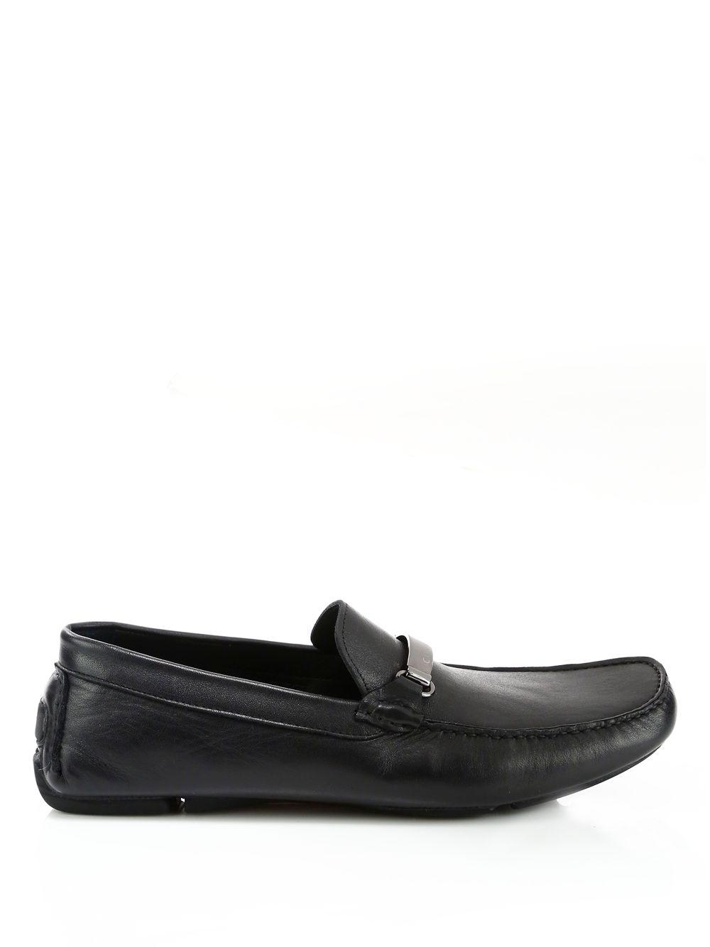 225ce13f98e Versace - Black Logo Plaque Leather Loafers for Men - Lyst. View fullscreen