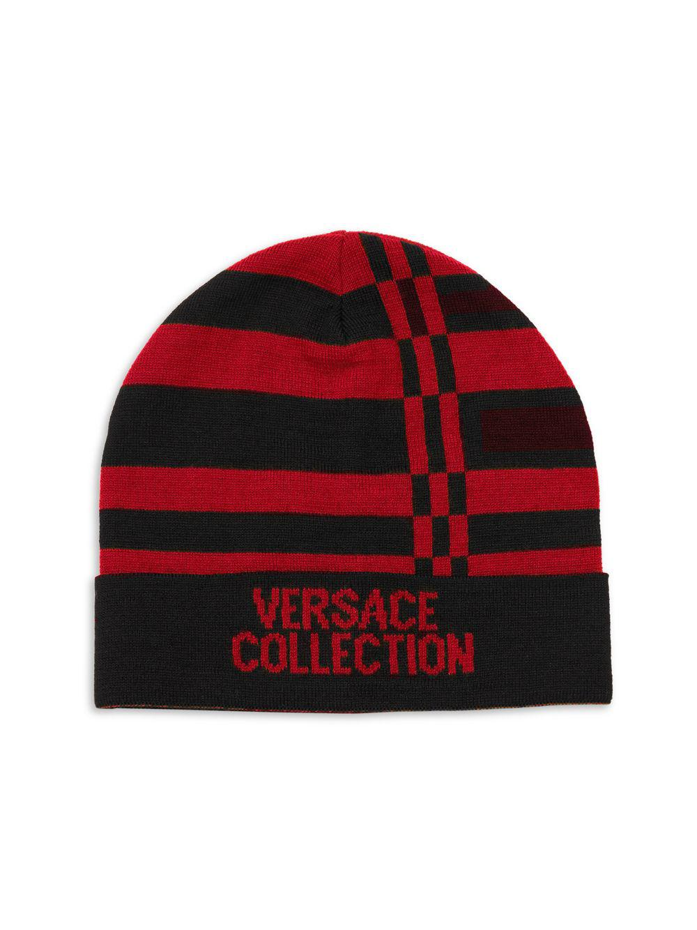 9f88f1abb214 Lyst - Versace Logo Stripe Beanie in Red for Men - Save 68%