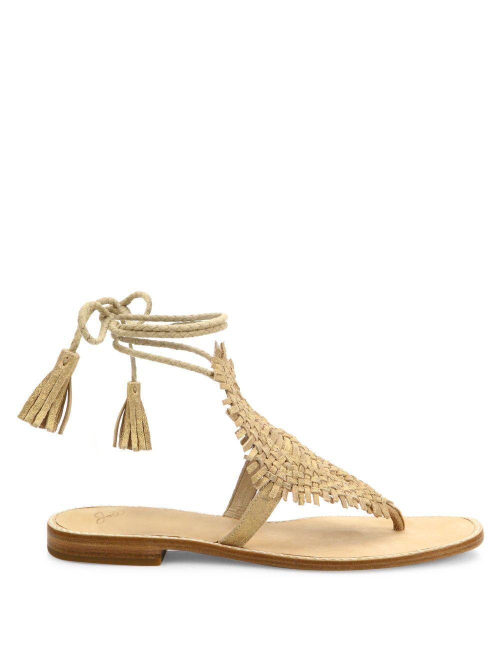Joie - Metallic Kacia Suede Wrap-around Sandals - Lyst. View fullscreen