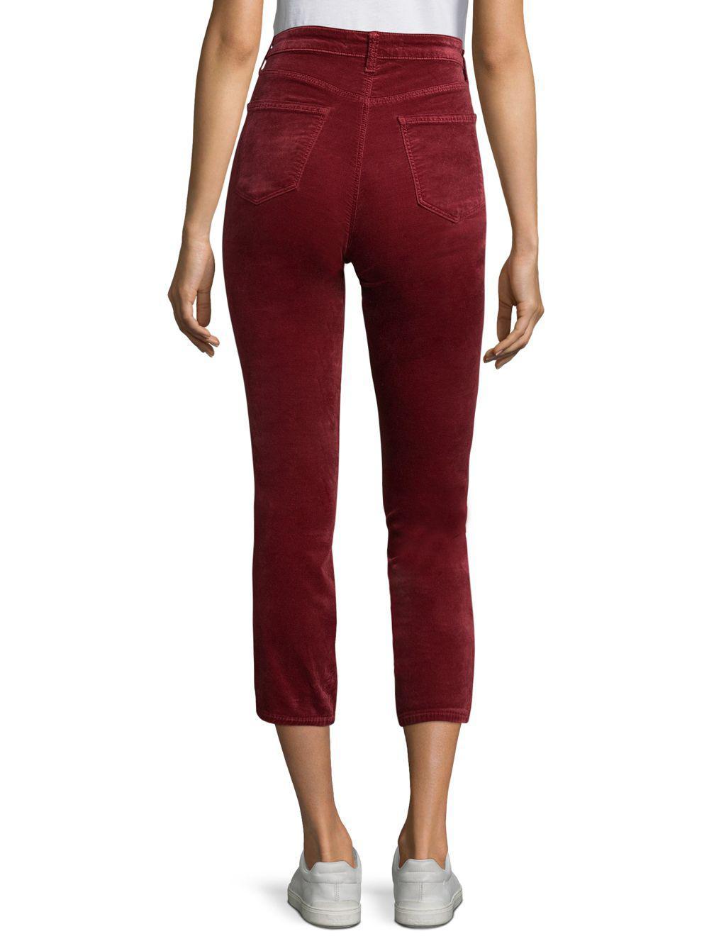 b94e138ee4d6 Lyst - J Brand Ruby High-rise Velvet Pants in Red